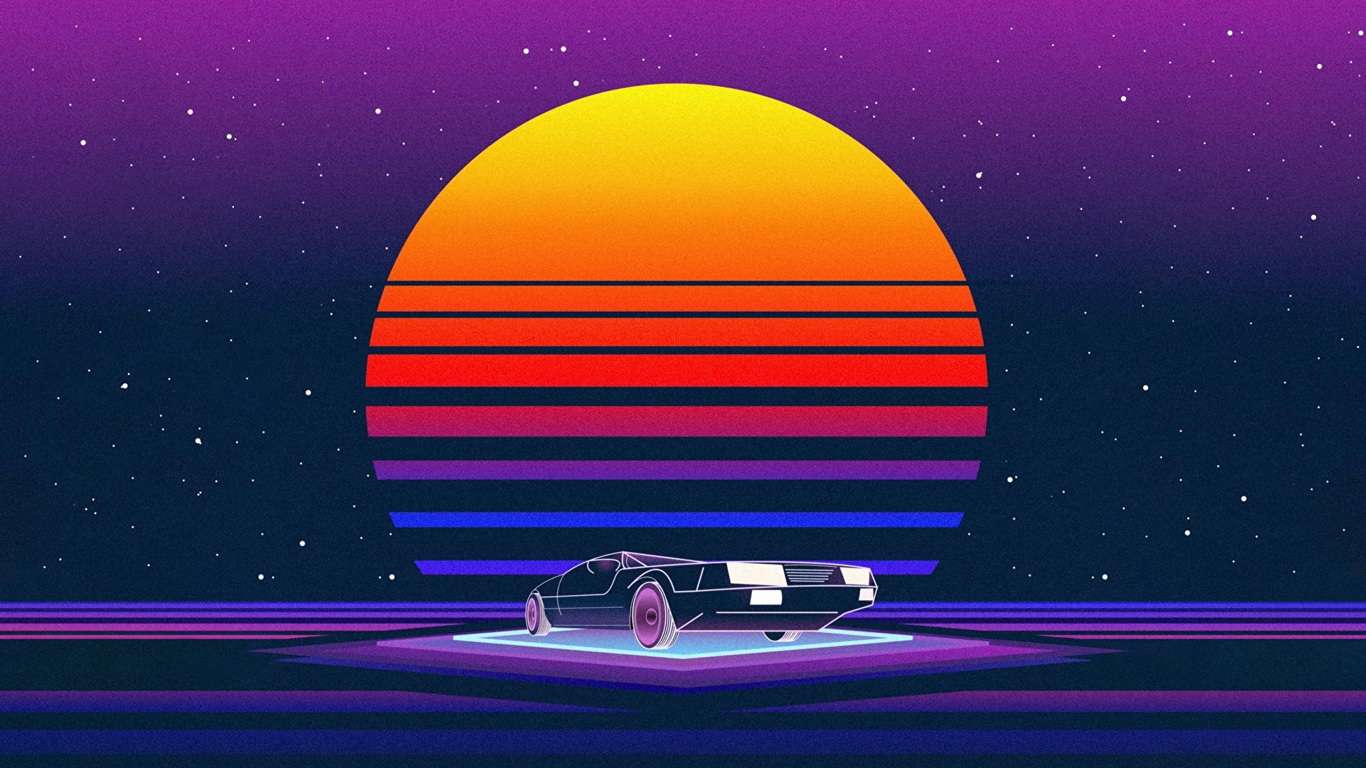 Фото DeLorean Ретровейв Солнце Автомобили 1920x1080 Делориан Синтвейв солнца авто машина машины автомобиль
