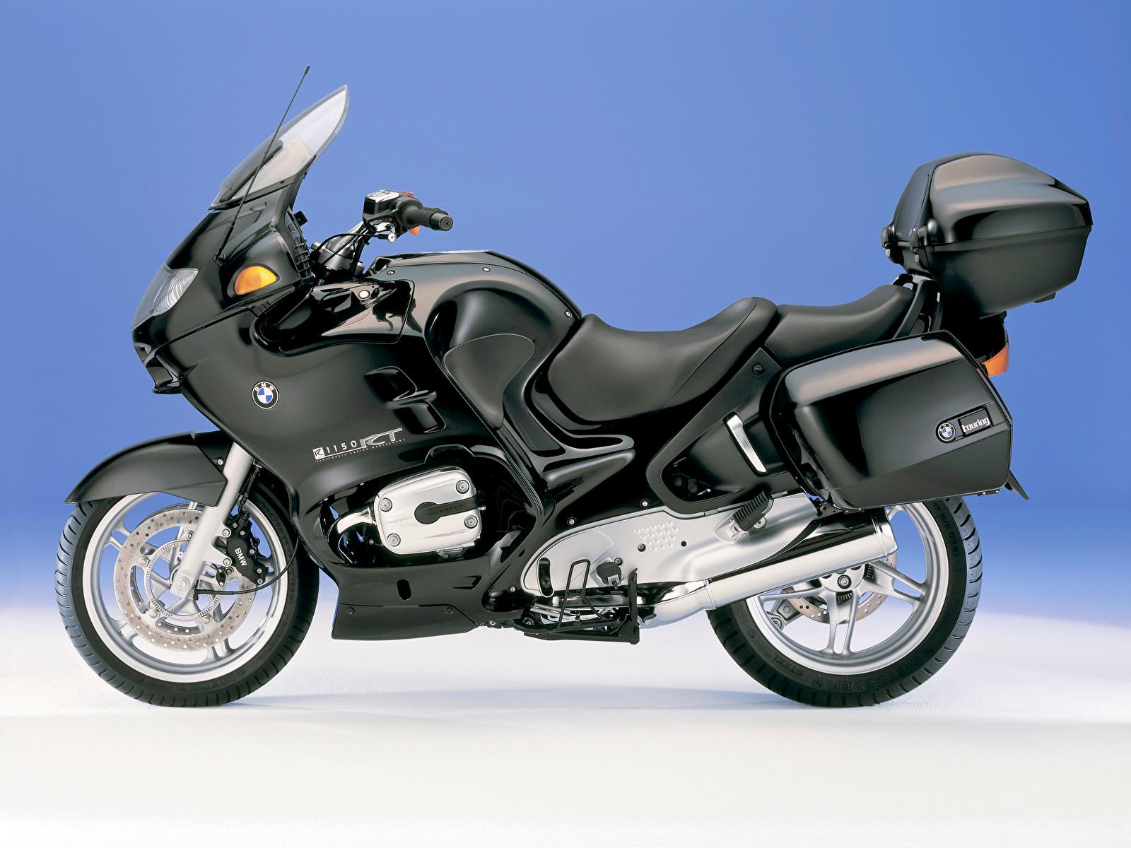 Фото БМВ R 1150 RT, 2001–04 черных мотоцикл Сбоку 1600x1200 BMW - Мотоциклы черная черные Черный Мотоциклы