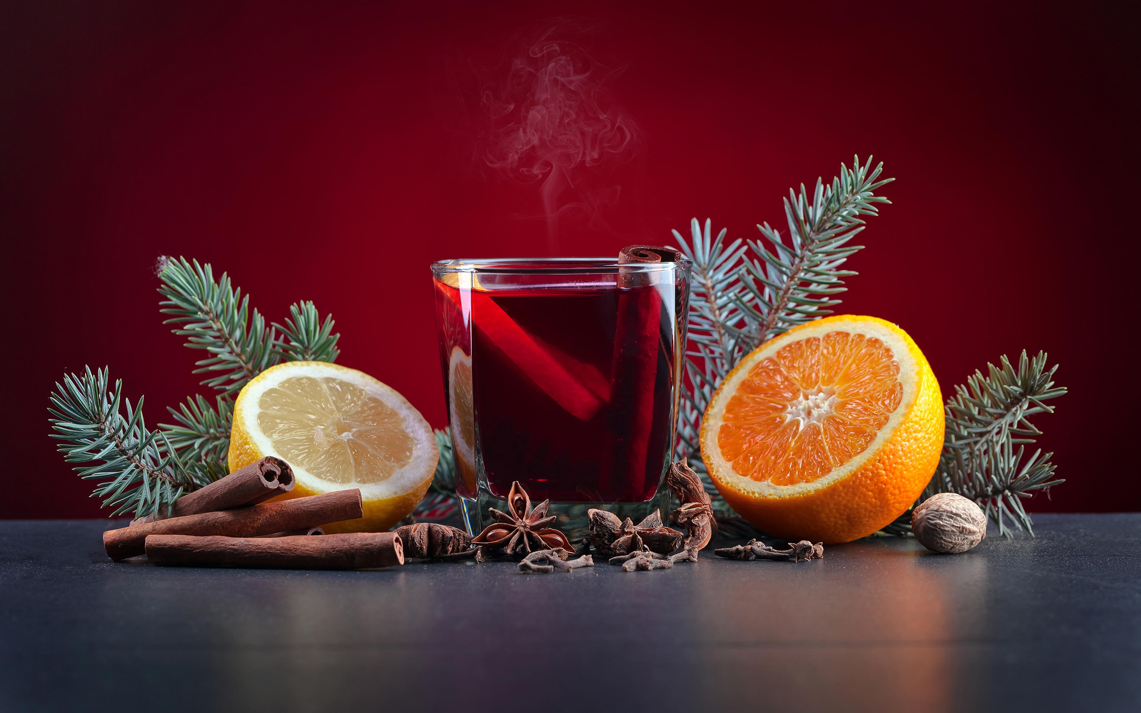 Картинка Новый год Апельсин Бадьян звезда аниса Стакан Лимоны Корица Пища Орехи Напитки 3840x2400 Рождество стакана стакане Еда Продукты питания напиток