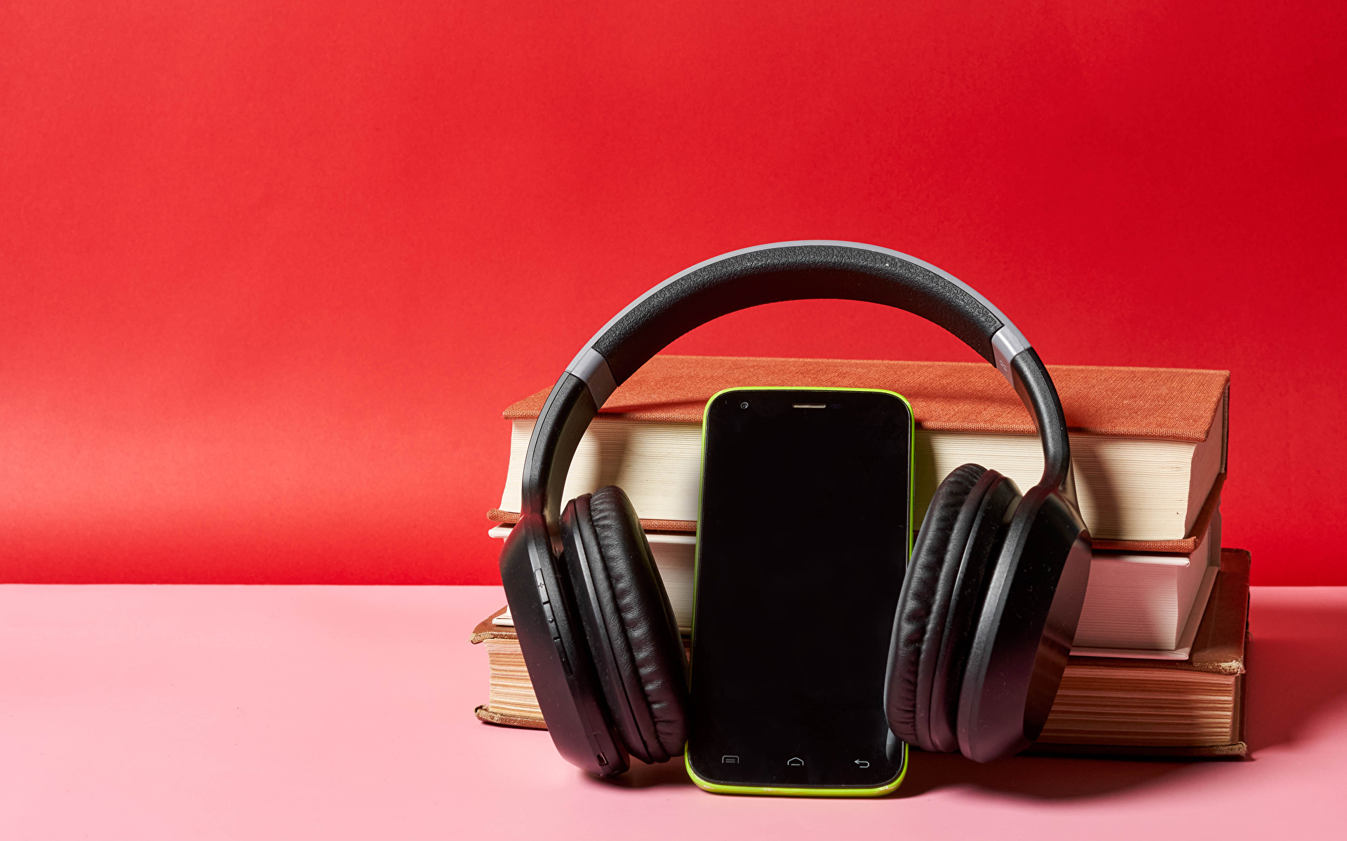 Фотография Наушники Смартфон Книга 1920x1200 в наушниках сматфоном смартфоны книги