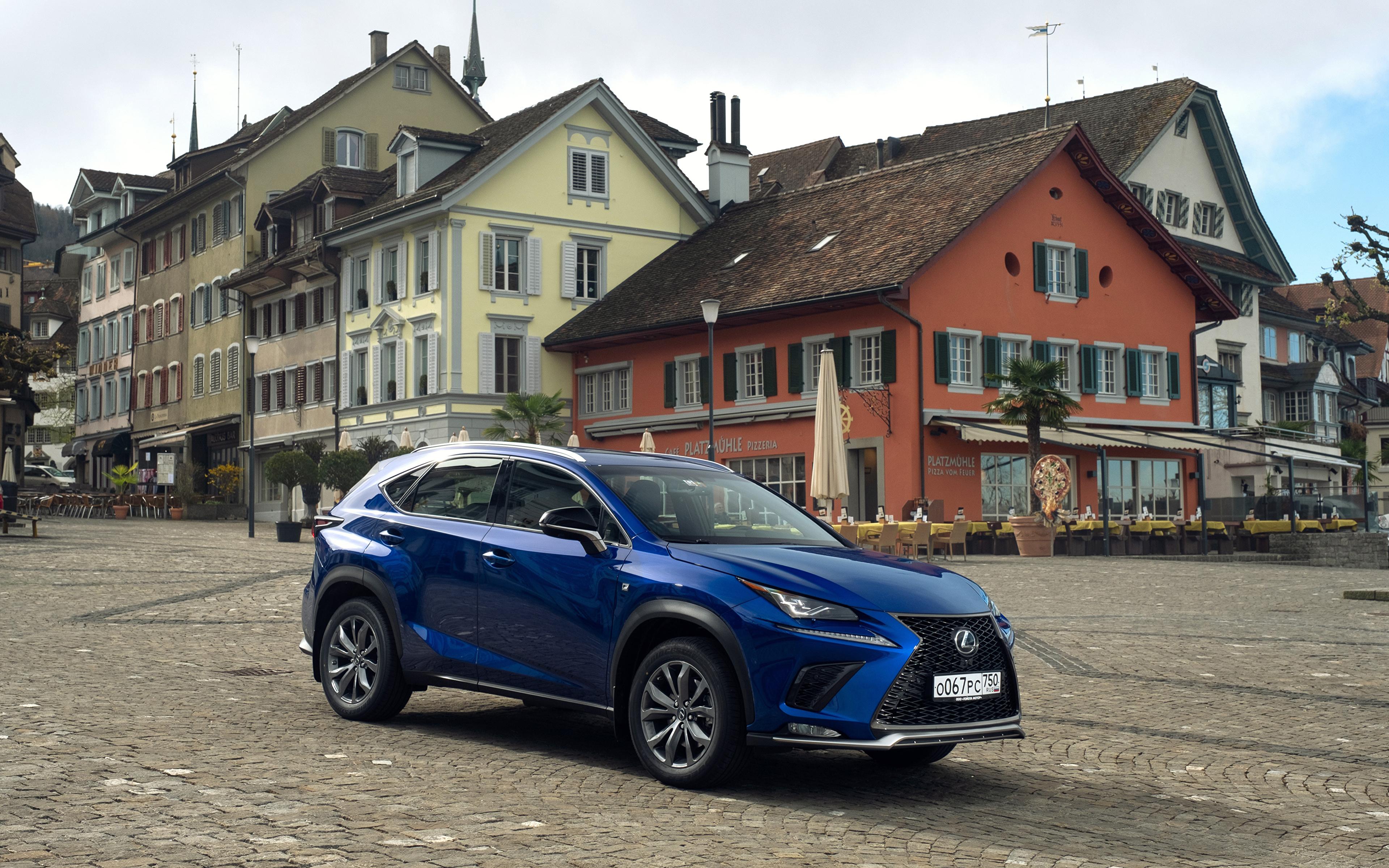 Картинка Лексус 2017-18 NX 300 F SPORT Worldwide синяя авто Металлик 3840x2400 Lexus синих синие Синий машина машины автомобиль Автомобили