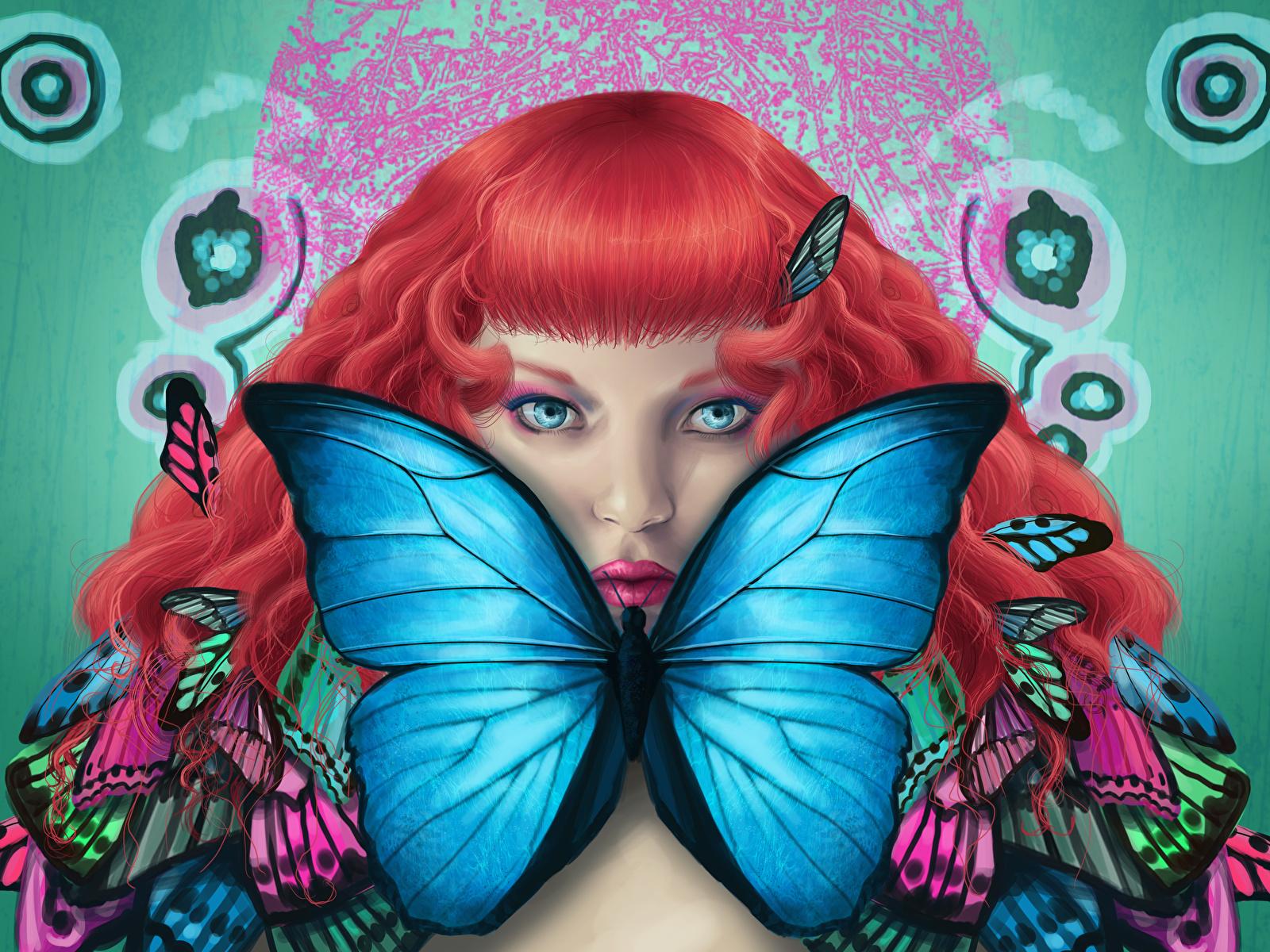 Картинка бабочка Рыжая Девушки Фантастика Взгляд Рисованные 1600x1200 Бабочки рыжие рыжих девушка Фэнтези молодая женщина молодые женщины смотрит смотрят