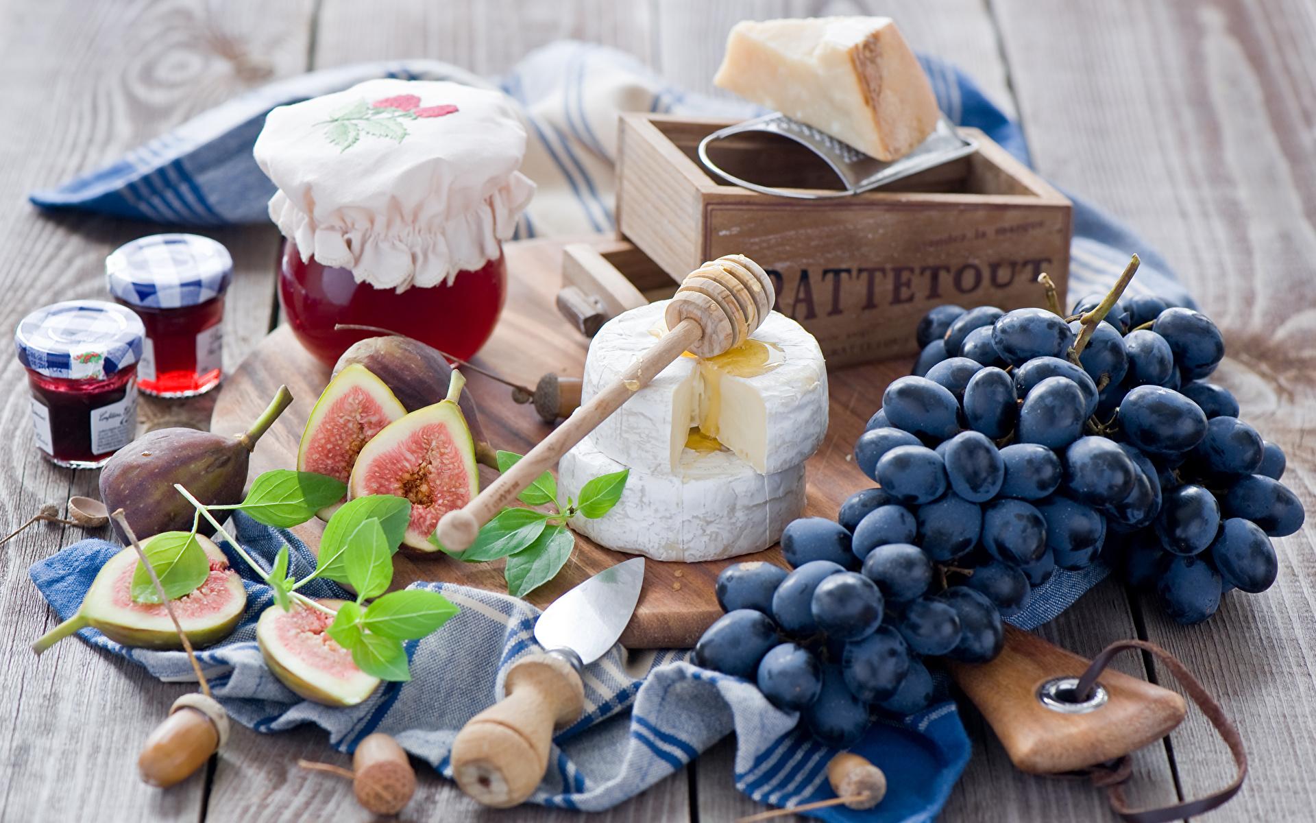 Картинки Варенье Сыры Виноград Пища 1920x1200 джем Повидло Еда Продукты питания