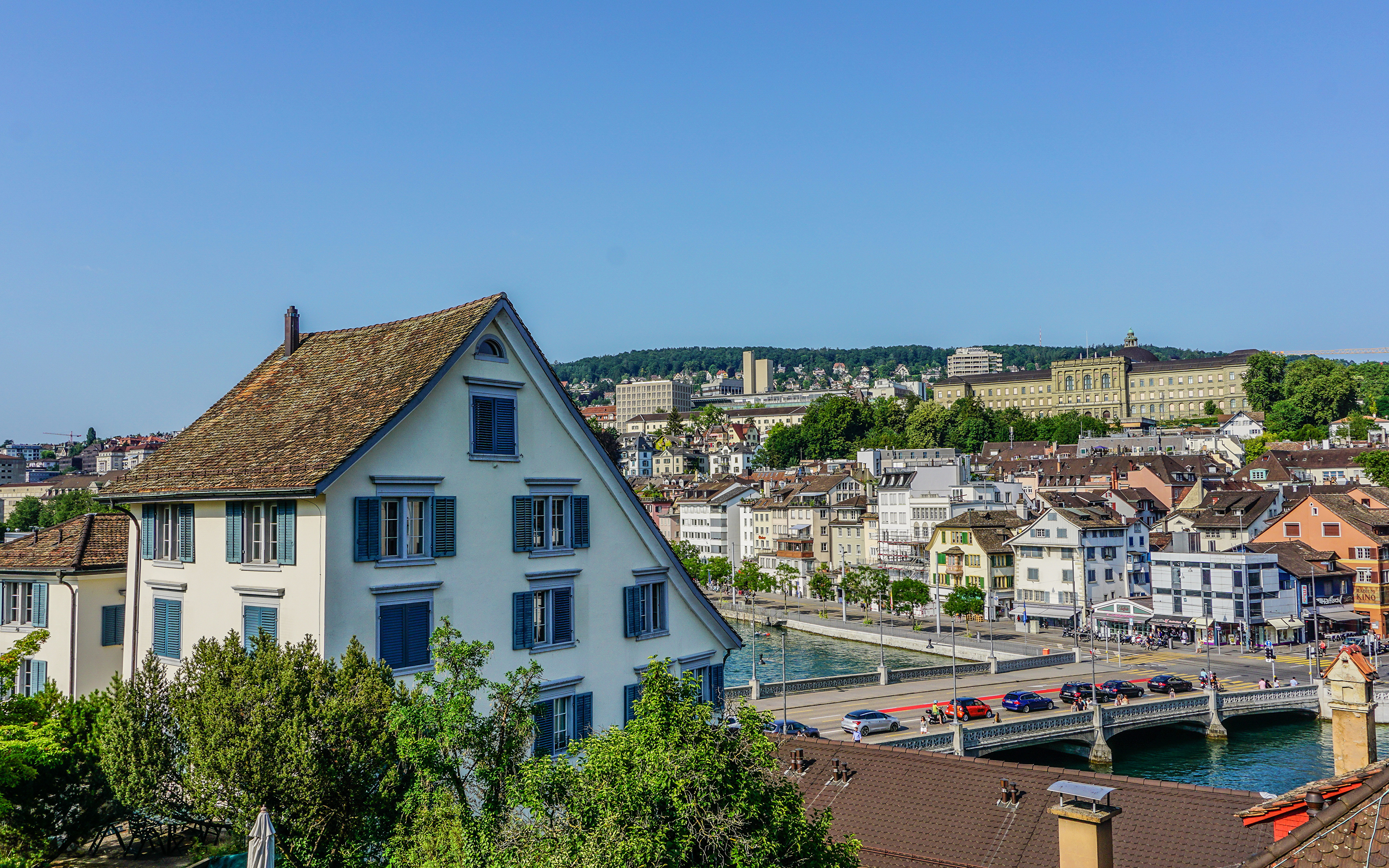 Обои швейцария, Switzerland, здания, крыши, Цюрих, дома. Города foto 9