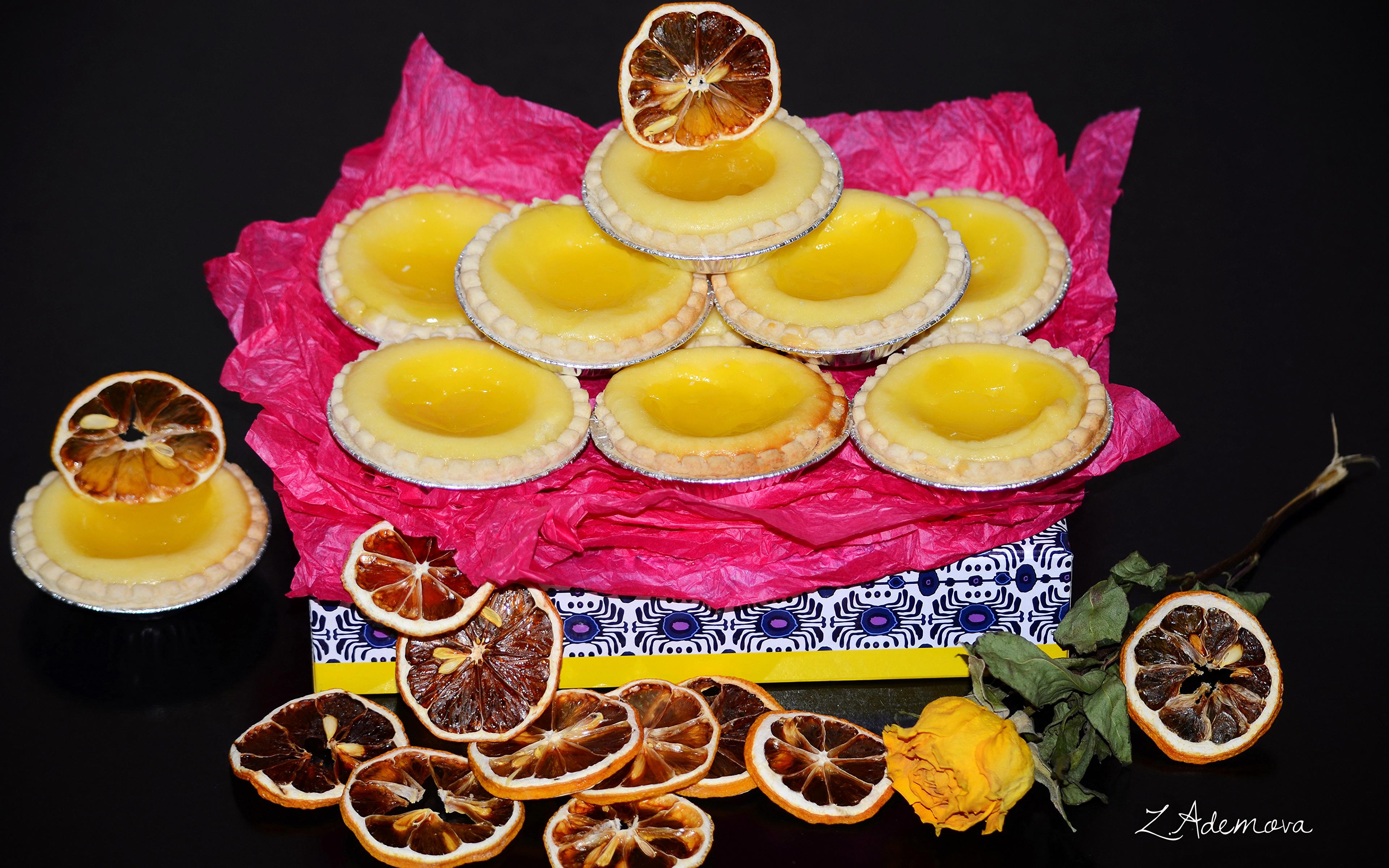 Фотография Лимоны Еда Печенье Выпечка 3840x2400 Пища Продукты питания
