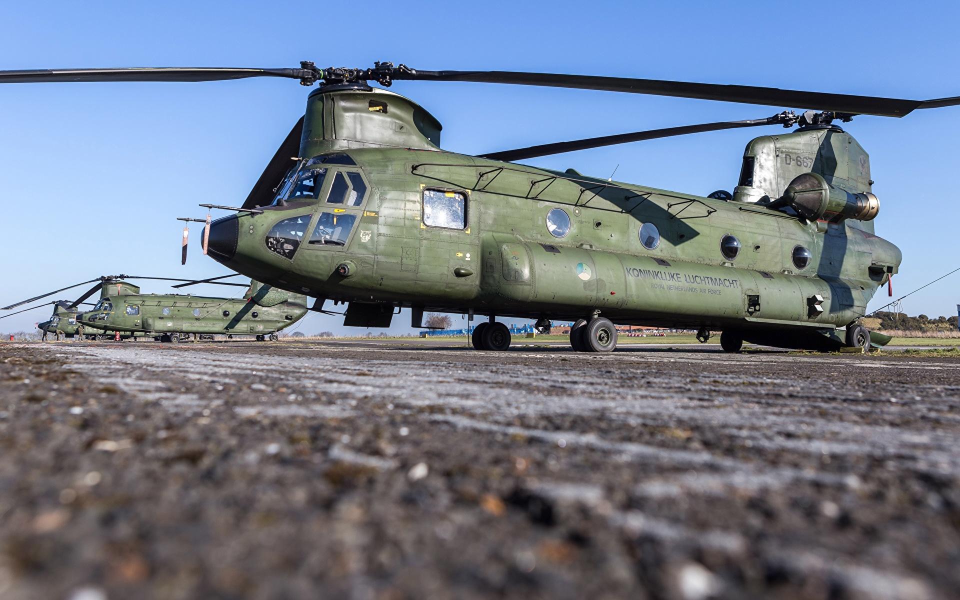 Фотография Вертолеты Royal Netherlands Air Force, Boeing CH-47D Chinook Авиация 1920x1200 вертолет