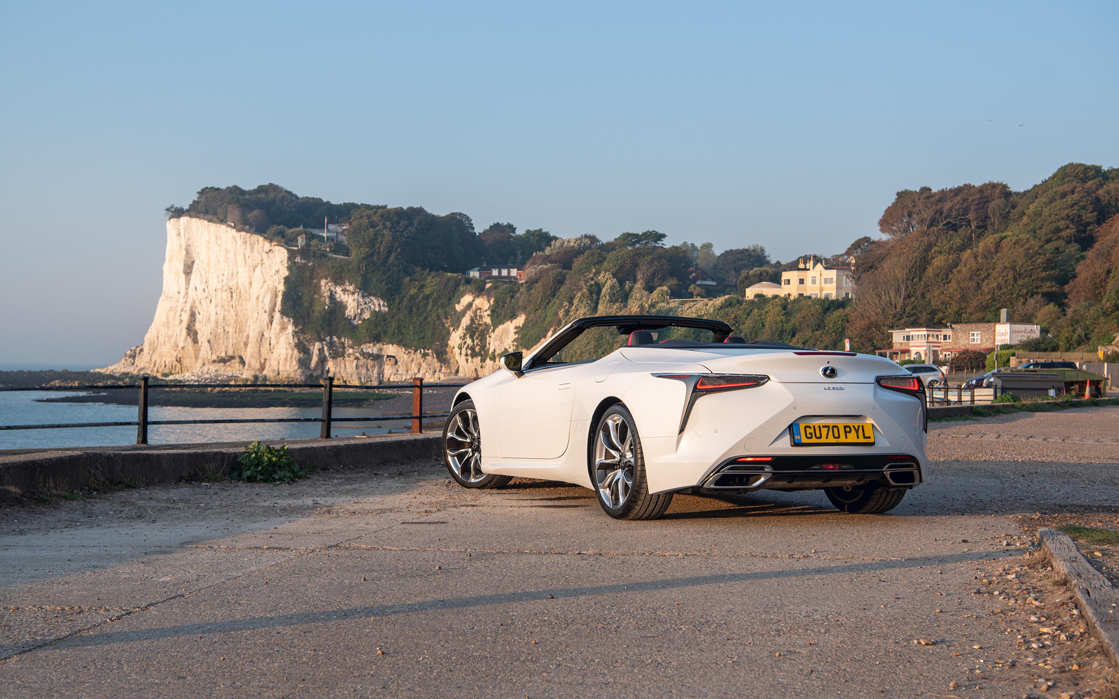 Фотографии Лексус LC 500 Convertible, UK-spec, 2020 кабриолета Белый авто Сзади Металлик 3840x2400 Lexus Кабриолет белая белые белых машины машина вид сзади Автомобили автомобиль