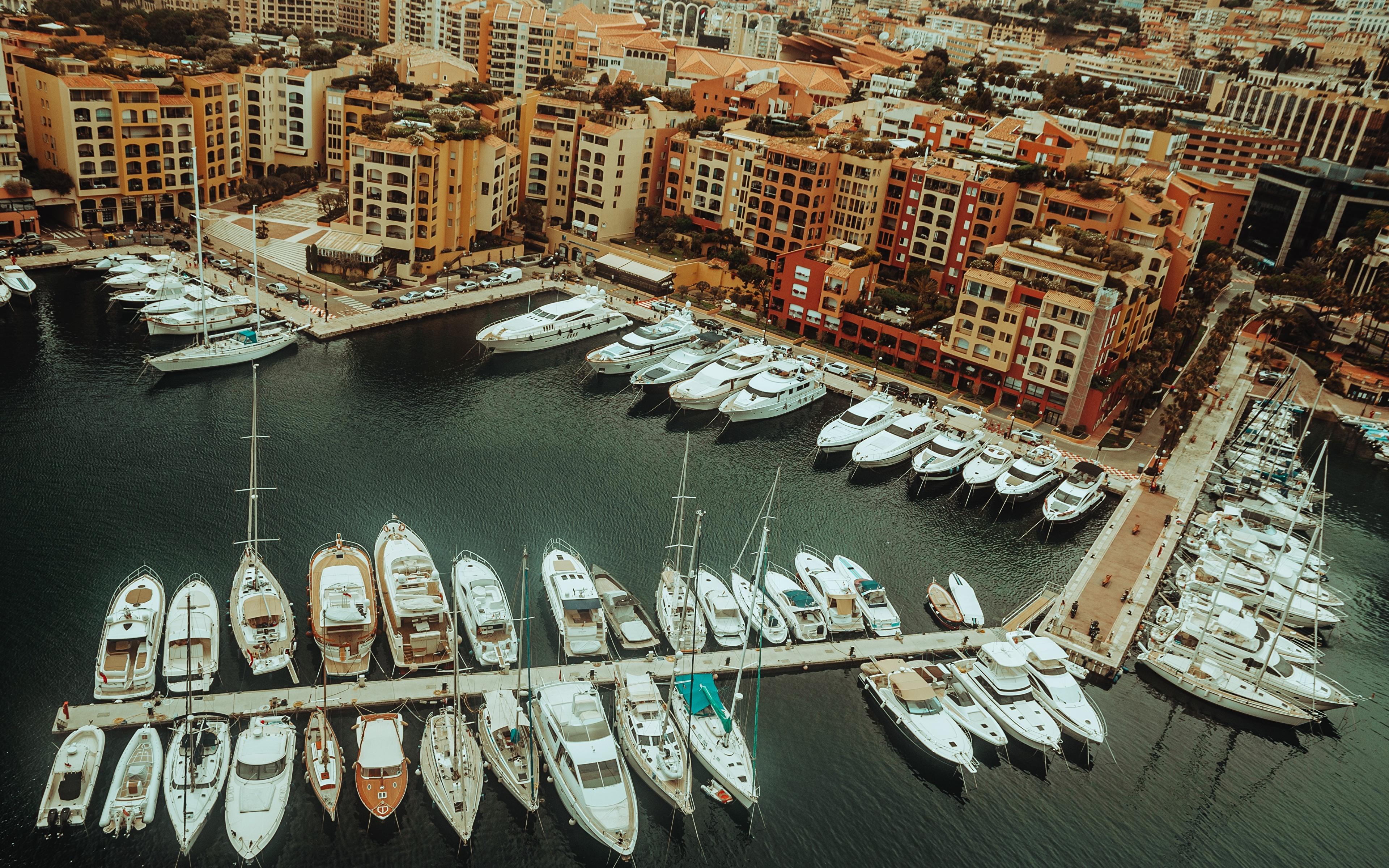 Фото Монте-Карло Монако Яхта Сверху Причалы Города 3840x2400 Пирсы Пристань город