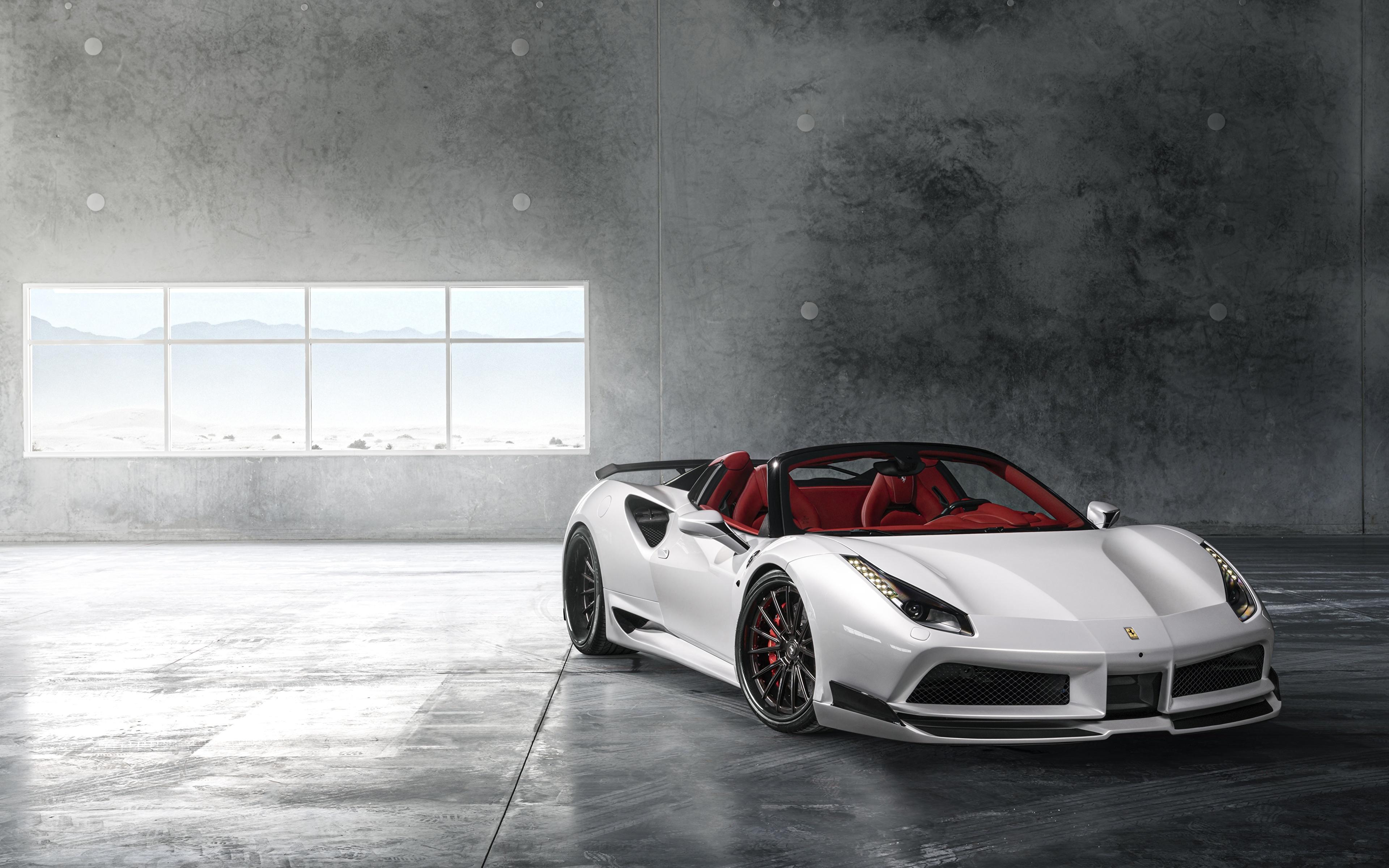 Картинка Ferrari Wide 488 Rearl Родстер белая Автомобили 3840x2400 Феррари белых белые Белый авто машина машины автомобиль