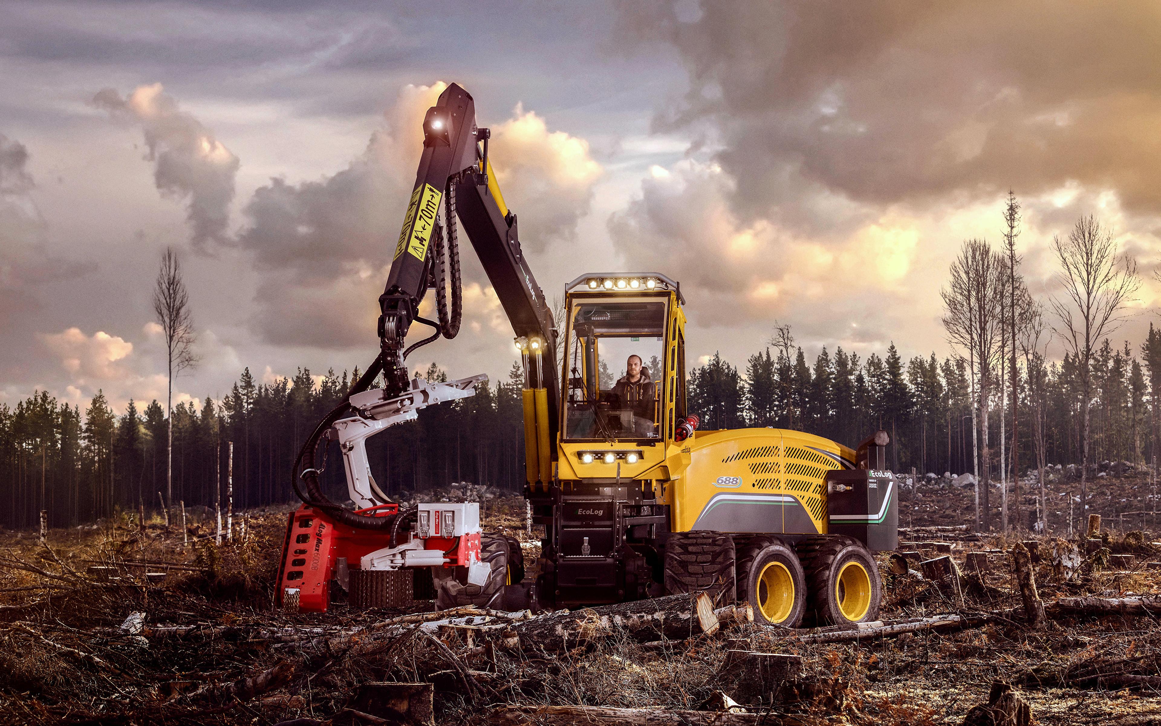 Фотографии Форвардер 2017-18 Eco Log 688E бревно 3840x2400 Бревна