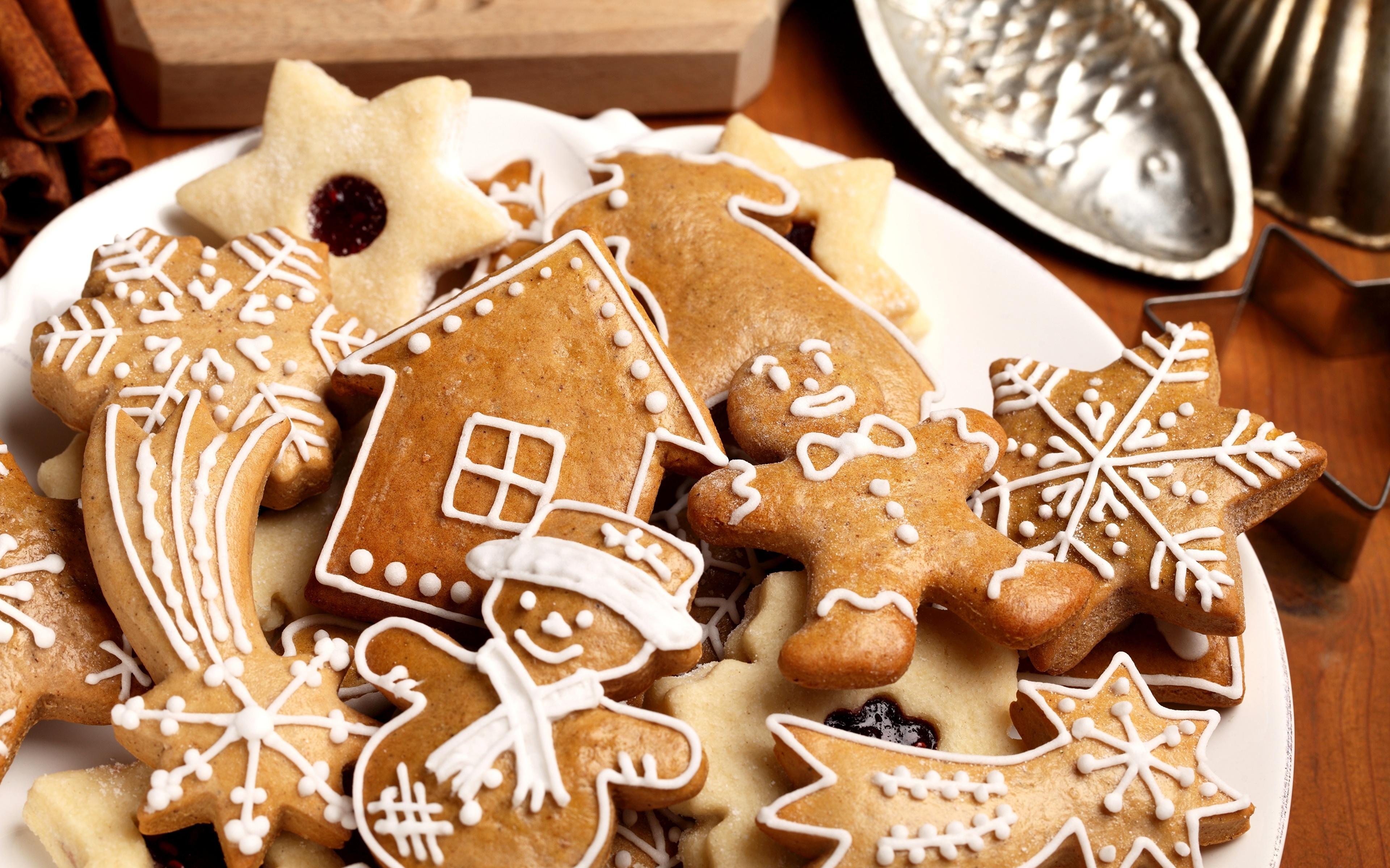 Фотографии снеговика Еда Печенье Выпечка 3840x2400 снеговик Снеговики Пища Продукты питания
