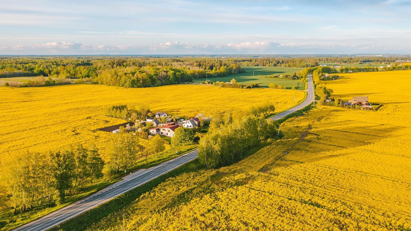 Картинки Литва Dūminas Природа Поля Дороги Сверху 1366x768