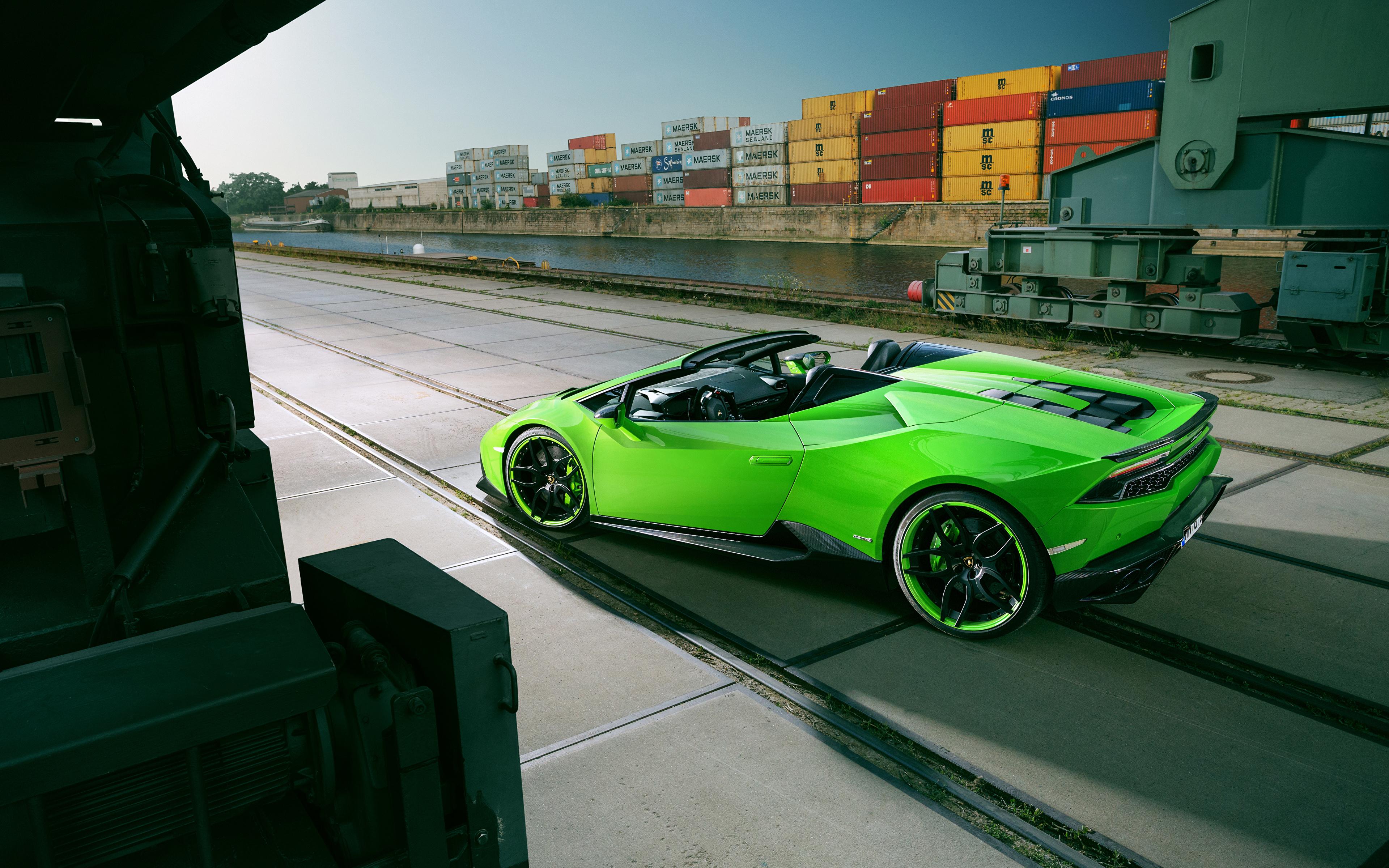 Фотография Lamborghini Spyder Novitec Torado Huracan Родстер салатовая машины 3840x2400 Ламборгини Салатовый салатовые желто зеленый авто машина автомобиль Автомобили