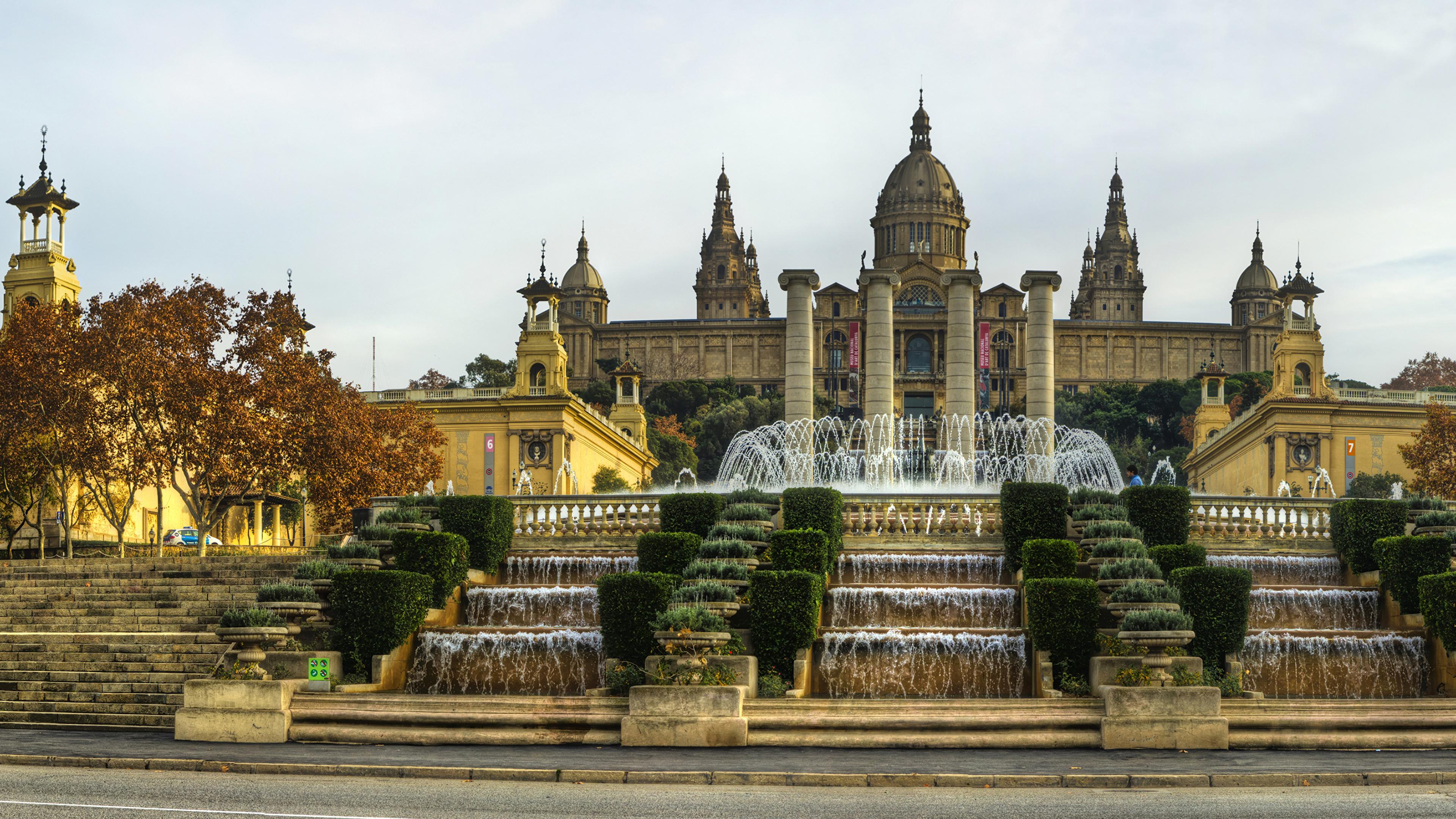 Фотография Барселона Дворец Испания Фонтаны National Palace лестницы Водопады Города 3840x2160 дворца Лестница город