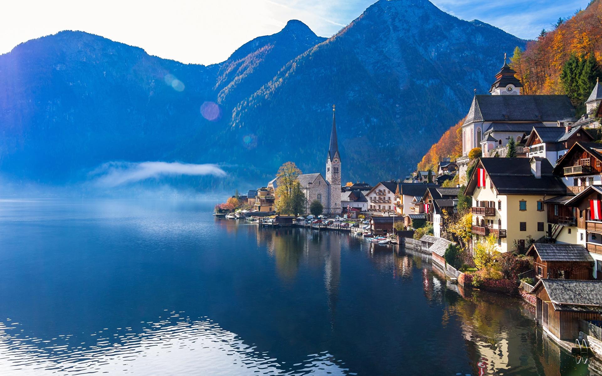 Обои для рабочего стола Халльштатт альп Австрия гора Природа Озеро Отражение Здания 1920x1200 Альпы Горы отражении отражается Дома