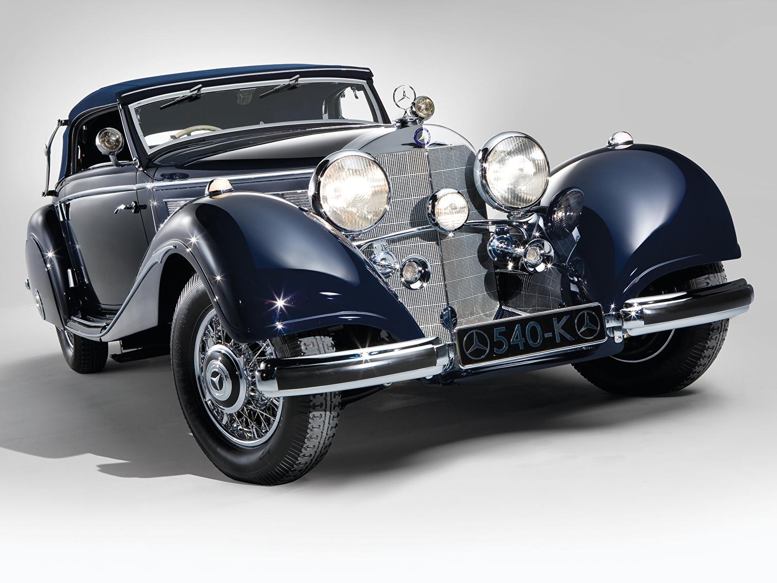 Фотографии Мерседес бенц 540K Cabriolet A 1937 автомобиль 1600x1200 Mercedes-Benz авто машина машины Автомобили
