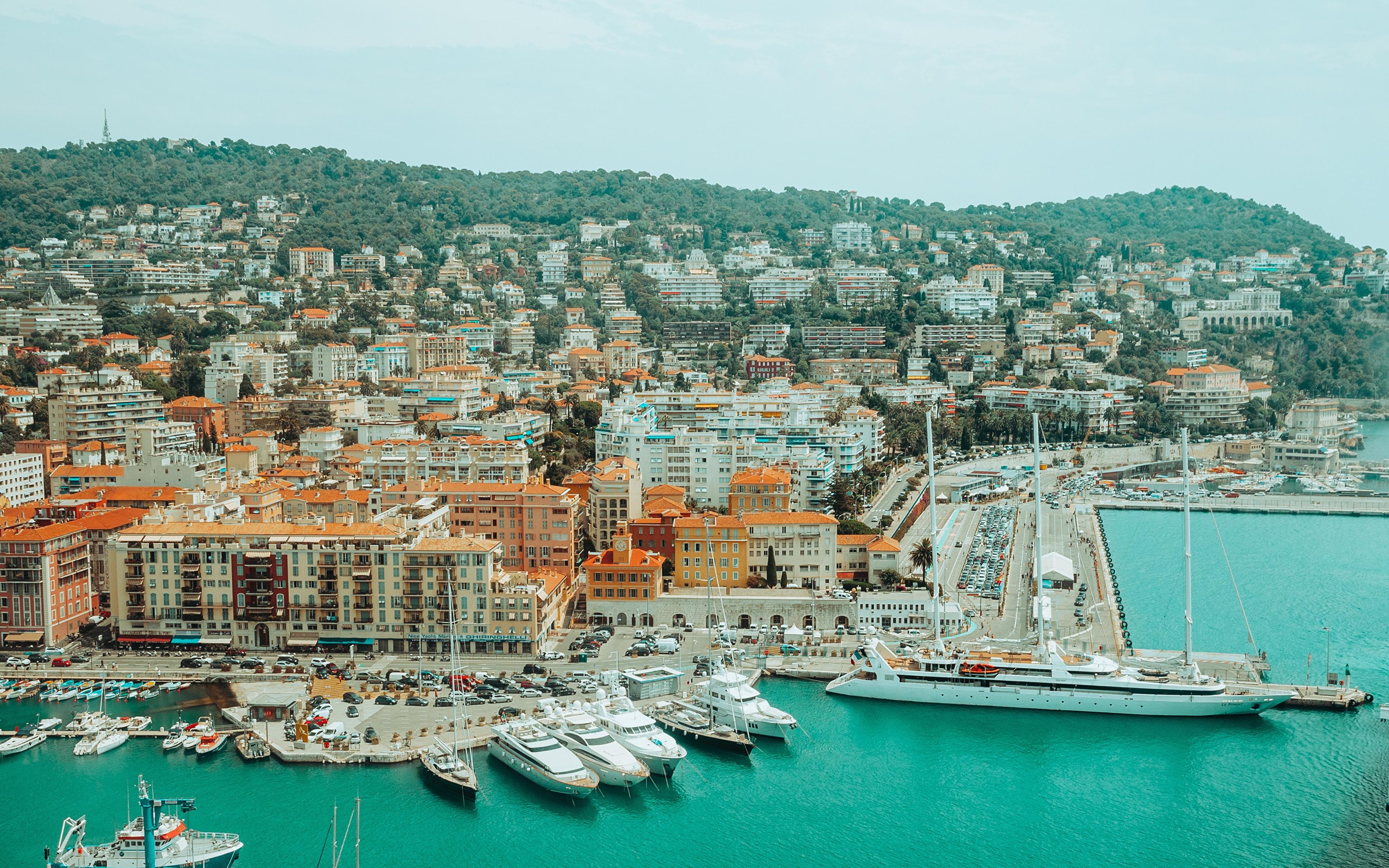 Обои для рабочего стола Франция Nice, Alpes-Maritimes Корабли Яхта Пирсы Города 3840x2400 корабль Причалы Пристань город