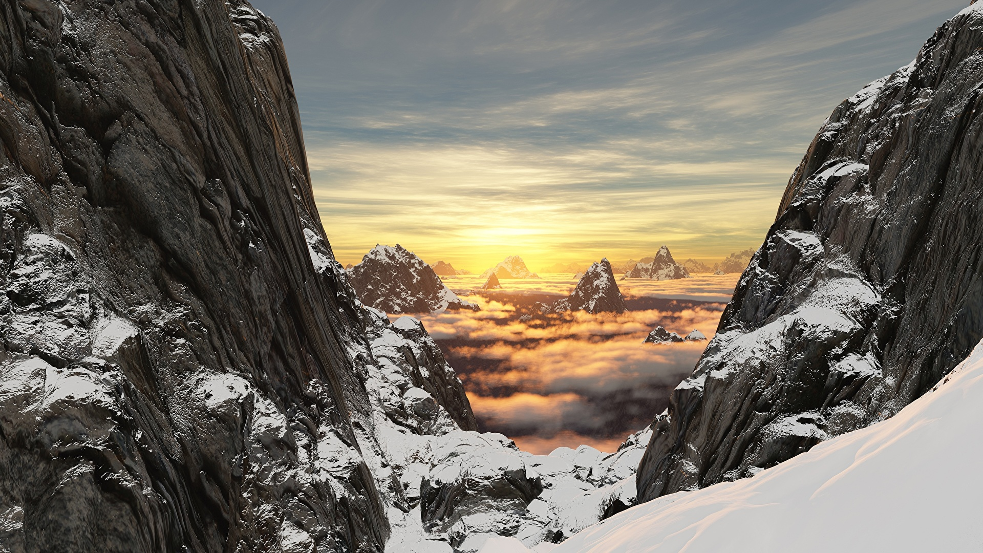 Фотографии 3д Утес Горы Природа снега Пейзаж Рассветы и закаты 1920x1080 гора скалы скале Скала 3D Графика Снег снеге снегу рассвет и закат