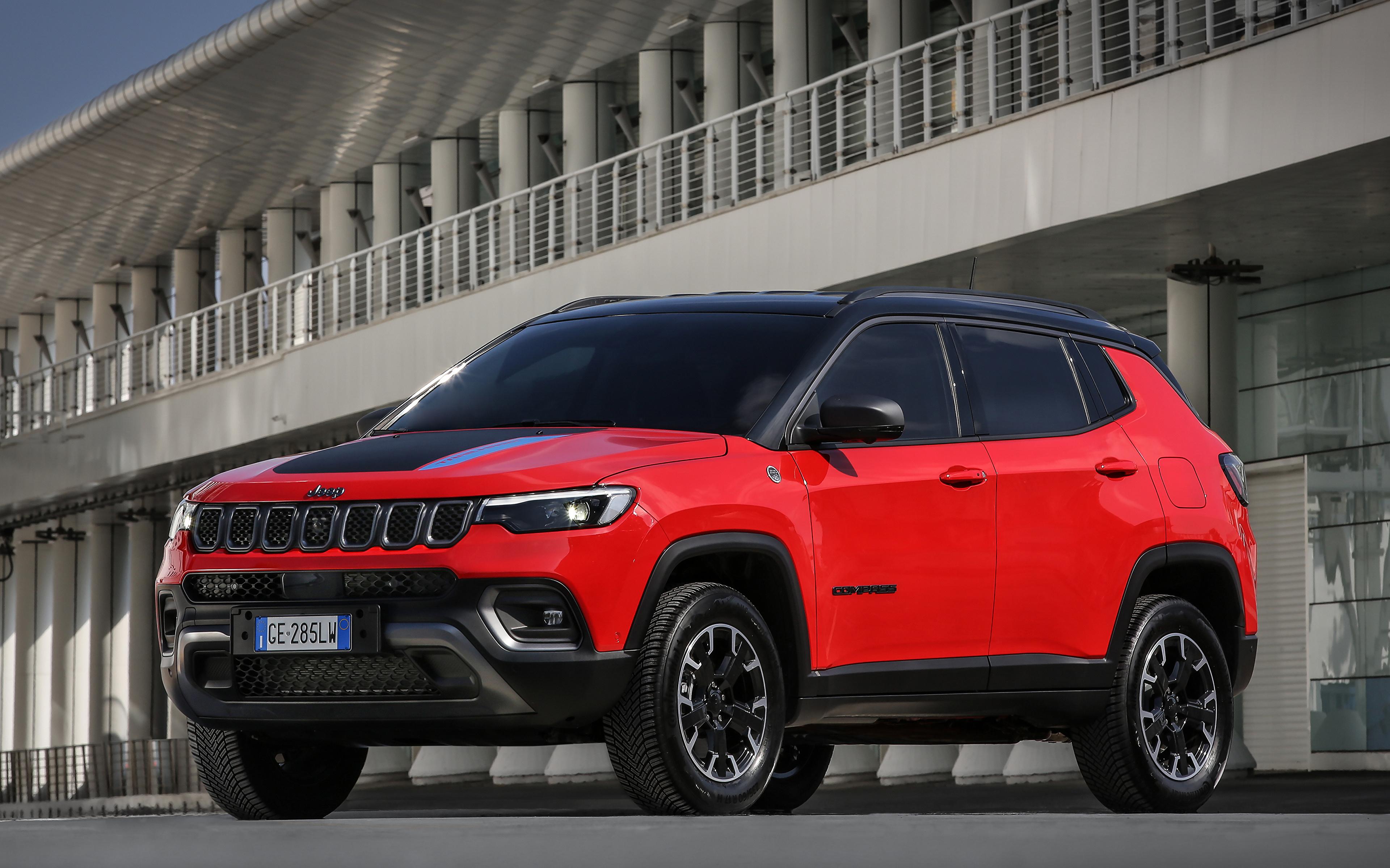 Фотографии Джип Compass Trailhawk 4xe, EU-spec, (MP), 2021 красные машина Металлик 3840x2400 Jeep красная Красный красных авто машины Автомобили автомобиль