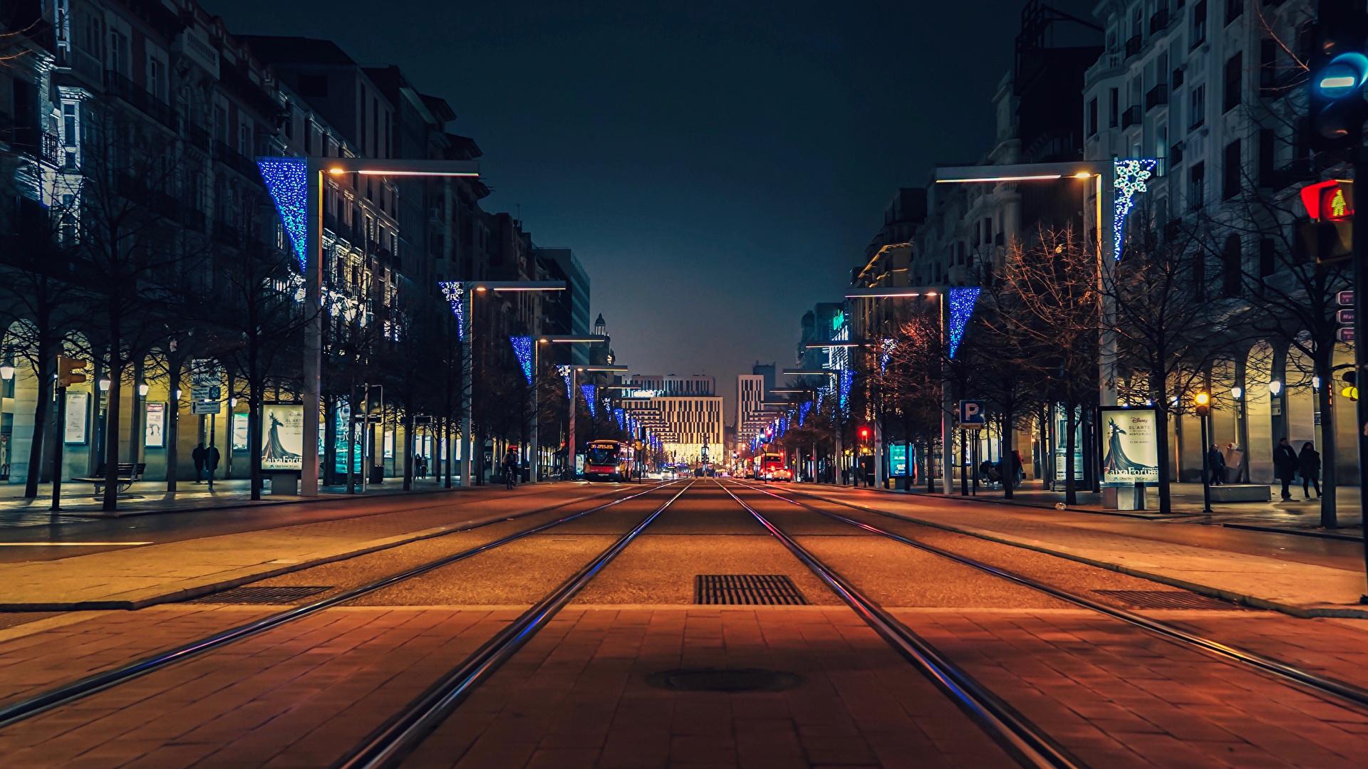 Фотография Испания Zaragoza Улица Дороги Вечер Дома Города 1920x1080 Здания