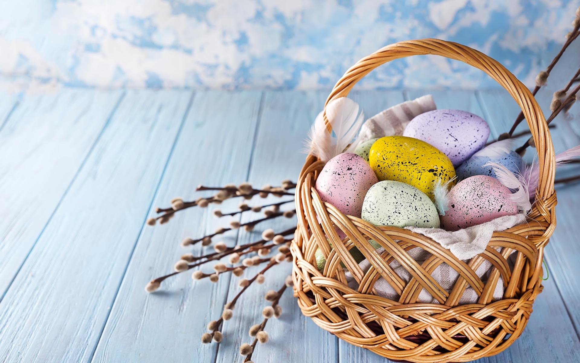 Фотографии Пасха яиц Корзинка 1920x1200 яйцо Яйца яйцами Корзина корзины