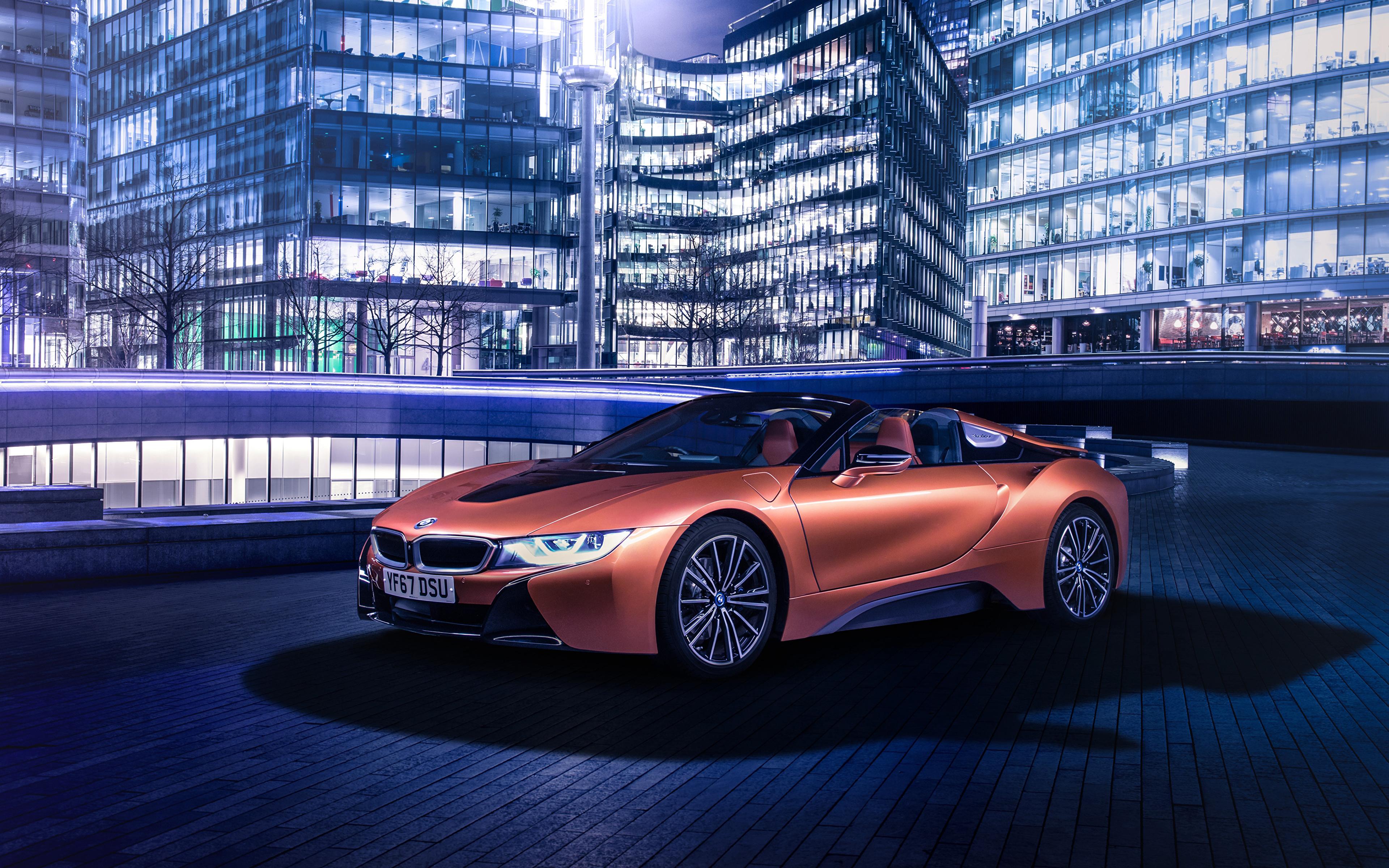 Обои BMW 2018 i8 Roadster Родстер оранжевые Автомобили 3840x2400 БМВ оранжевых Оранжевый оранжевая Авто Машины