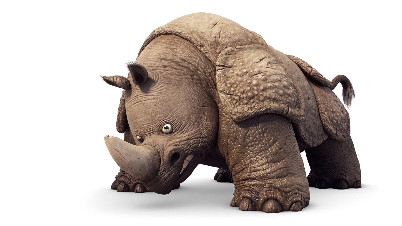 Картинка Носороги Vincent Chambin, The Jungle Bunch : The Movie Мультики 3D Графика животное Белый фон 1366x768 3д мультик Мультфильмы Животные белом фоне белым фоном