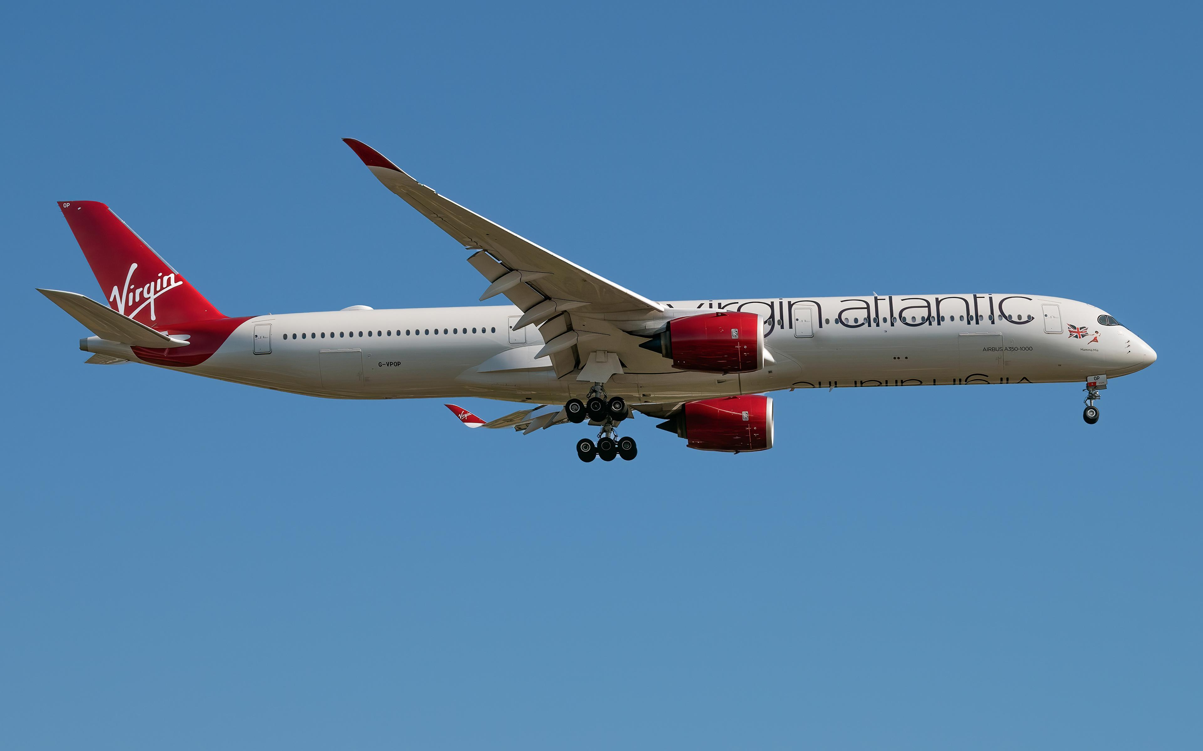 Фотографии Эйрбас Самолеты Пассажирские Самолеты A350-1000, Virgin Atlantic Сбоку Авиация 3840x2400 Airbus