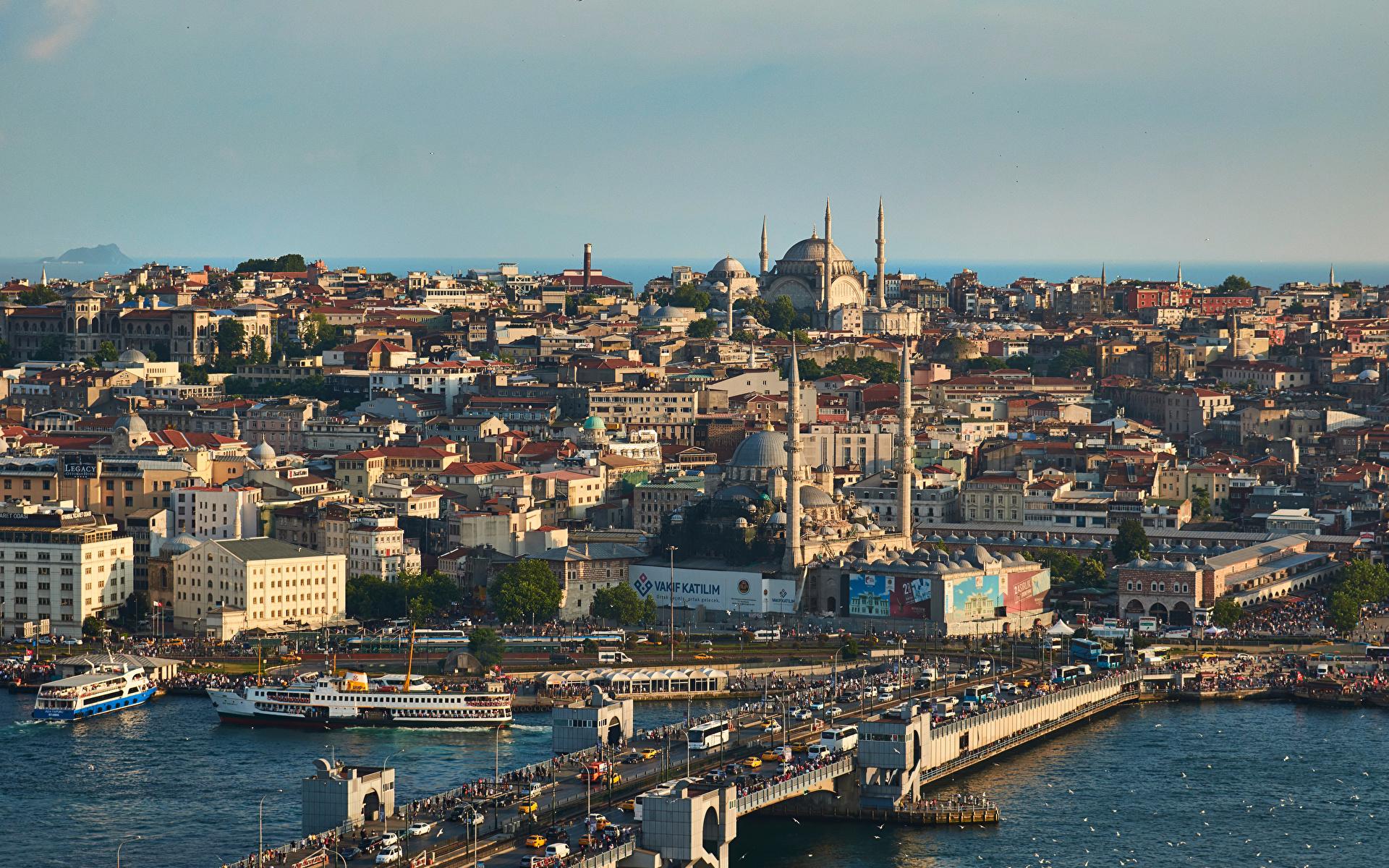 Фотографии Стамбул Мечеть Турция мост Дома город 1920x1200 Мосты Здания Города