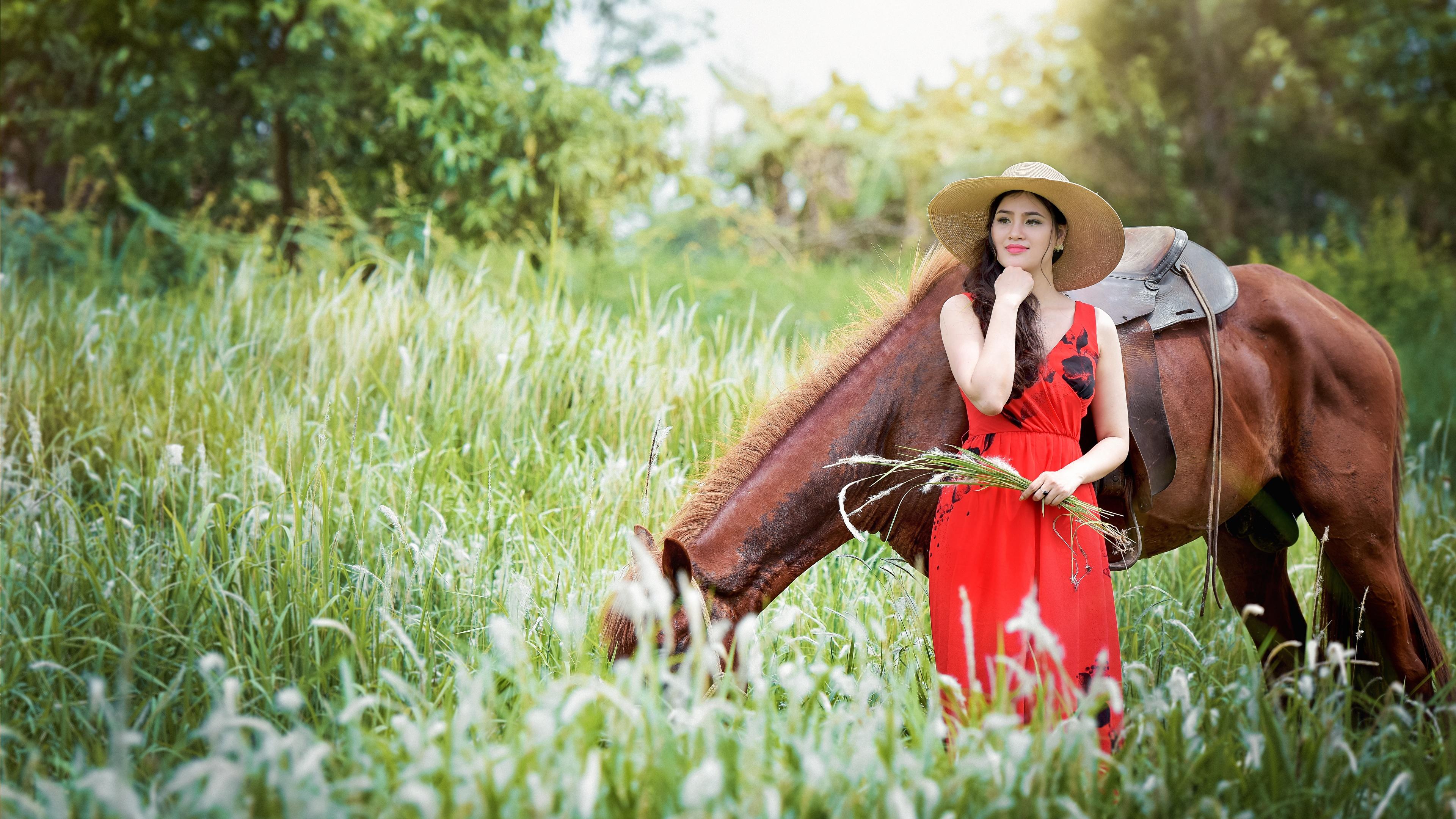 Брюнетка в шляпе с лошадью загрузить