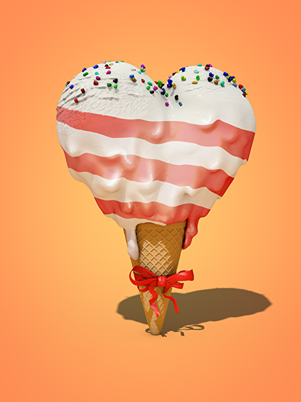 Фотография серце Мороженое бантики Продукты питания сладкая еда Цветной фон 600x800 Сердце сердца сердечко Еда Пища бант Бантик Сладости