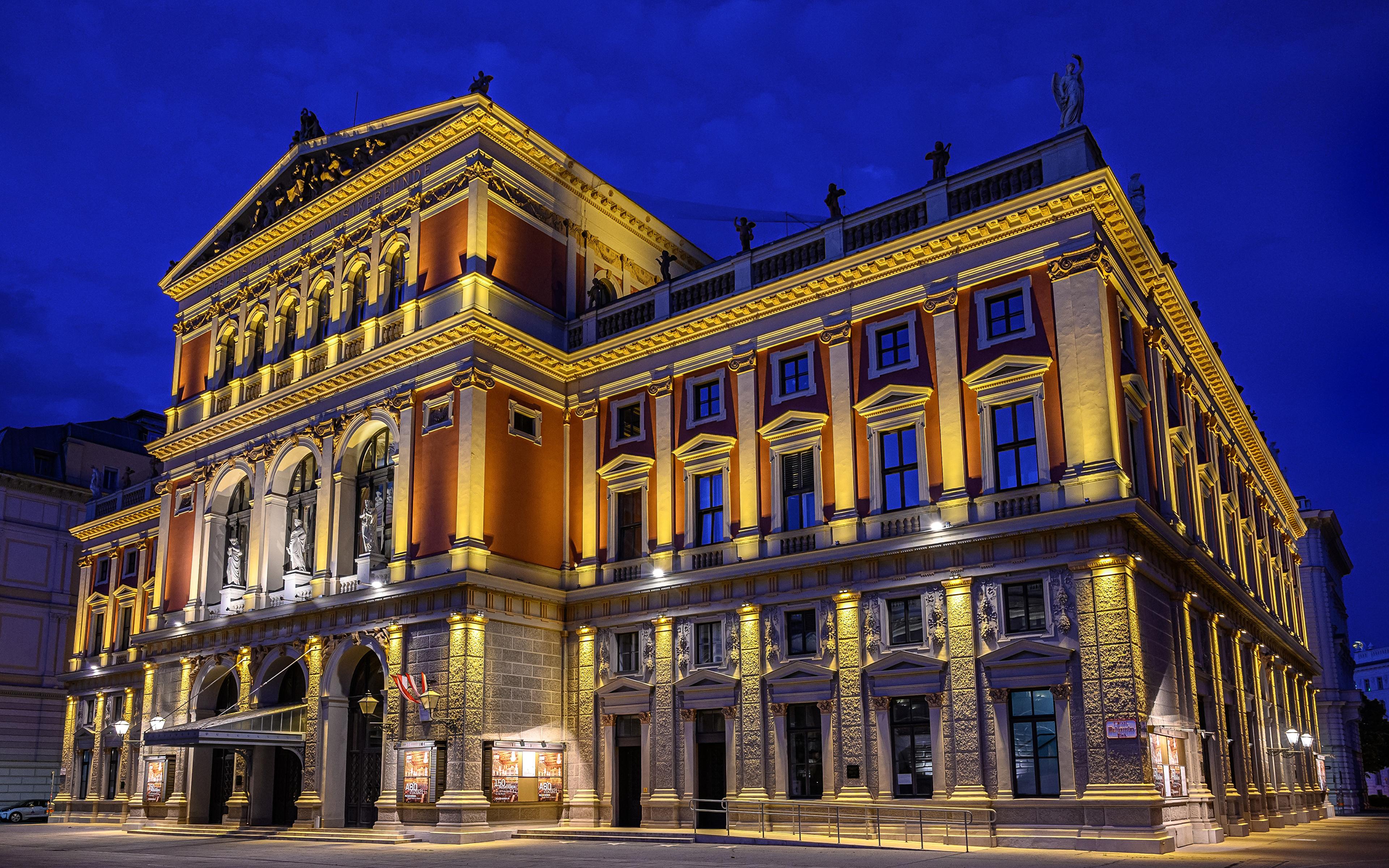 Фотографии Вена Австрия Musikverein Ночные Уличные фонари Дома Города 3840x2400 Ночь ночью в ночи город Здания