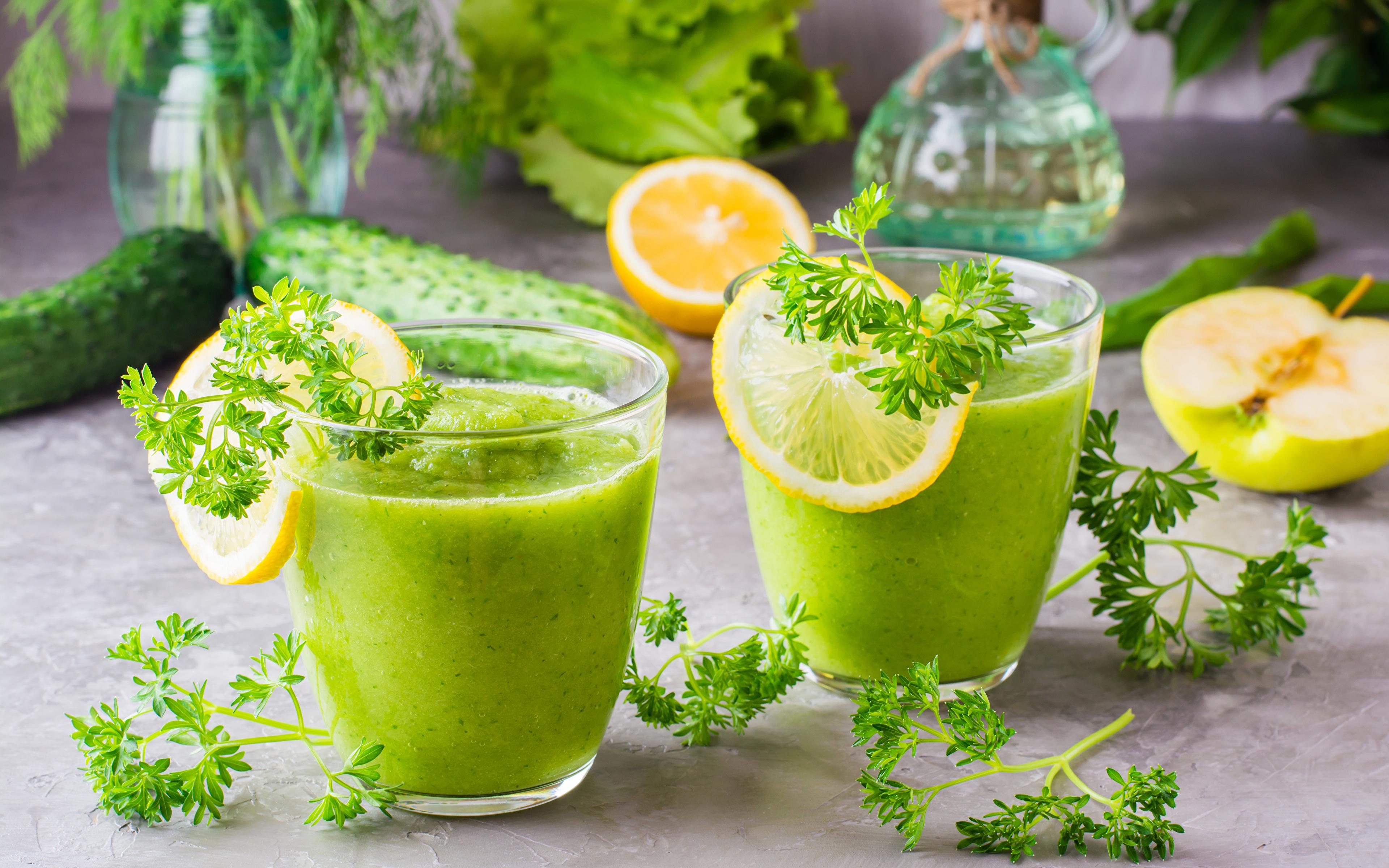 Фото Смузи 2 Стакан Лимоны Пища Овощи 3840x2400 Двое вдвоем Еда Продукты питания