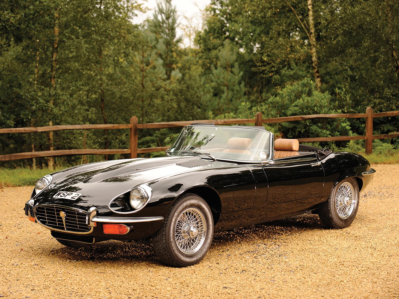 Фото Jaguar e-type v12 roadster 1974–75 Родстер черных фар авто 1600x1200 Ягуар Черный черные черная Фары машина машины автомобиль Автомобили