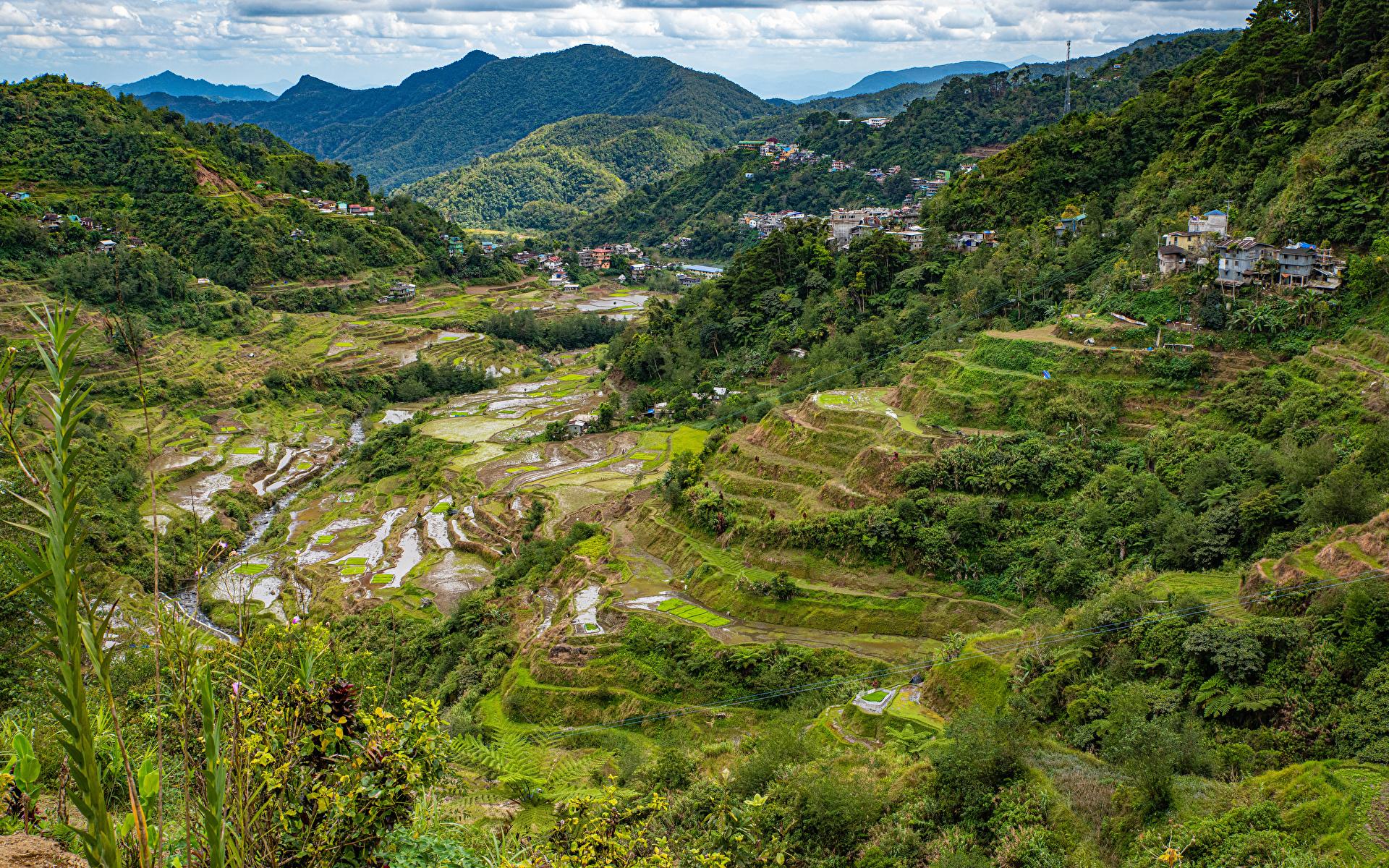 Фотография Филиппины Banaue rice terraces, Ifugao гора Природа Поля Сверху 1920x1200 Горы