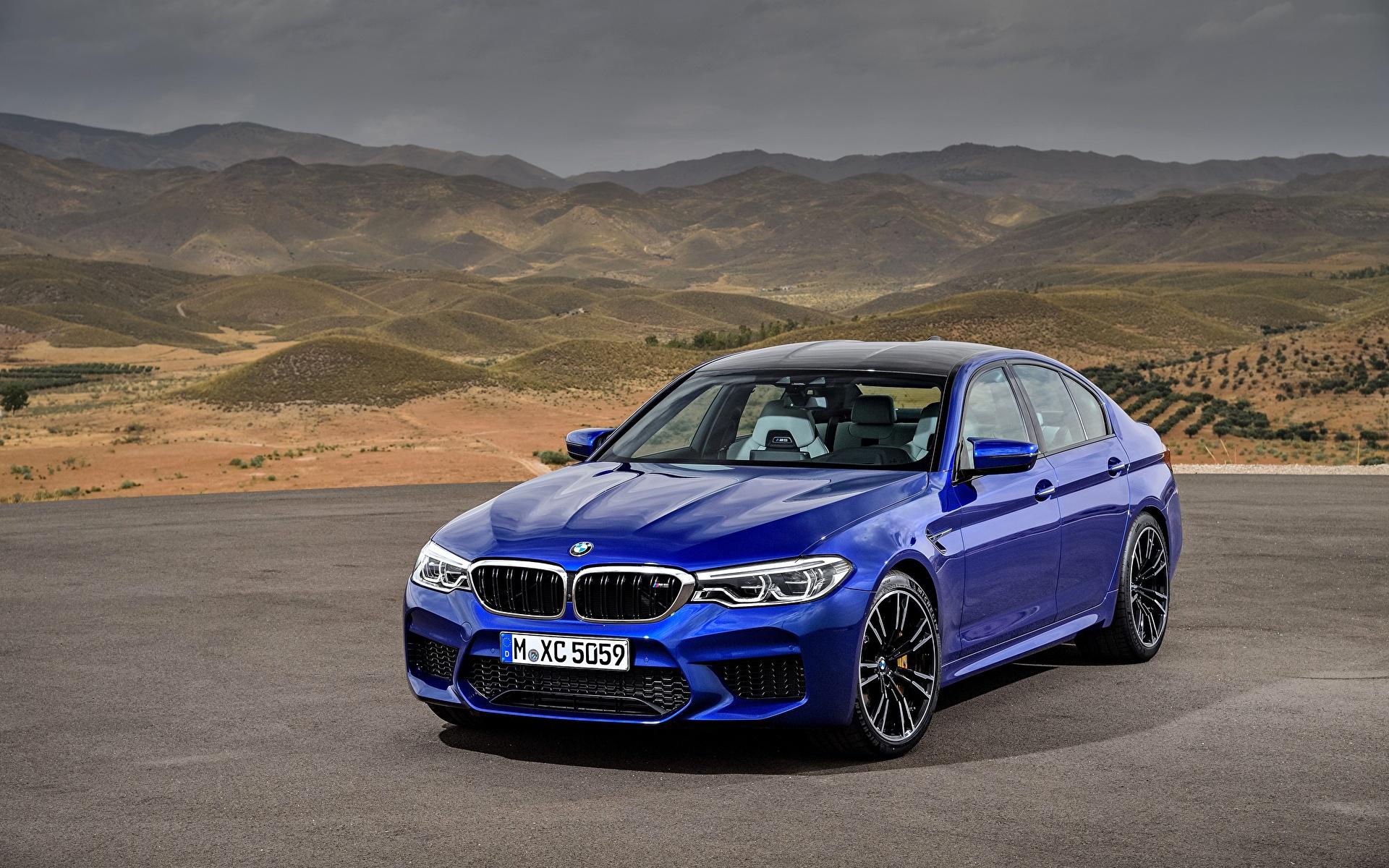 Фотография BMW M5 2017 M5 F90 синих Автомобили 1920x1200 БМВ синяя синие Синий авто машины машина автомобиль