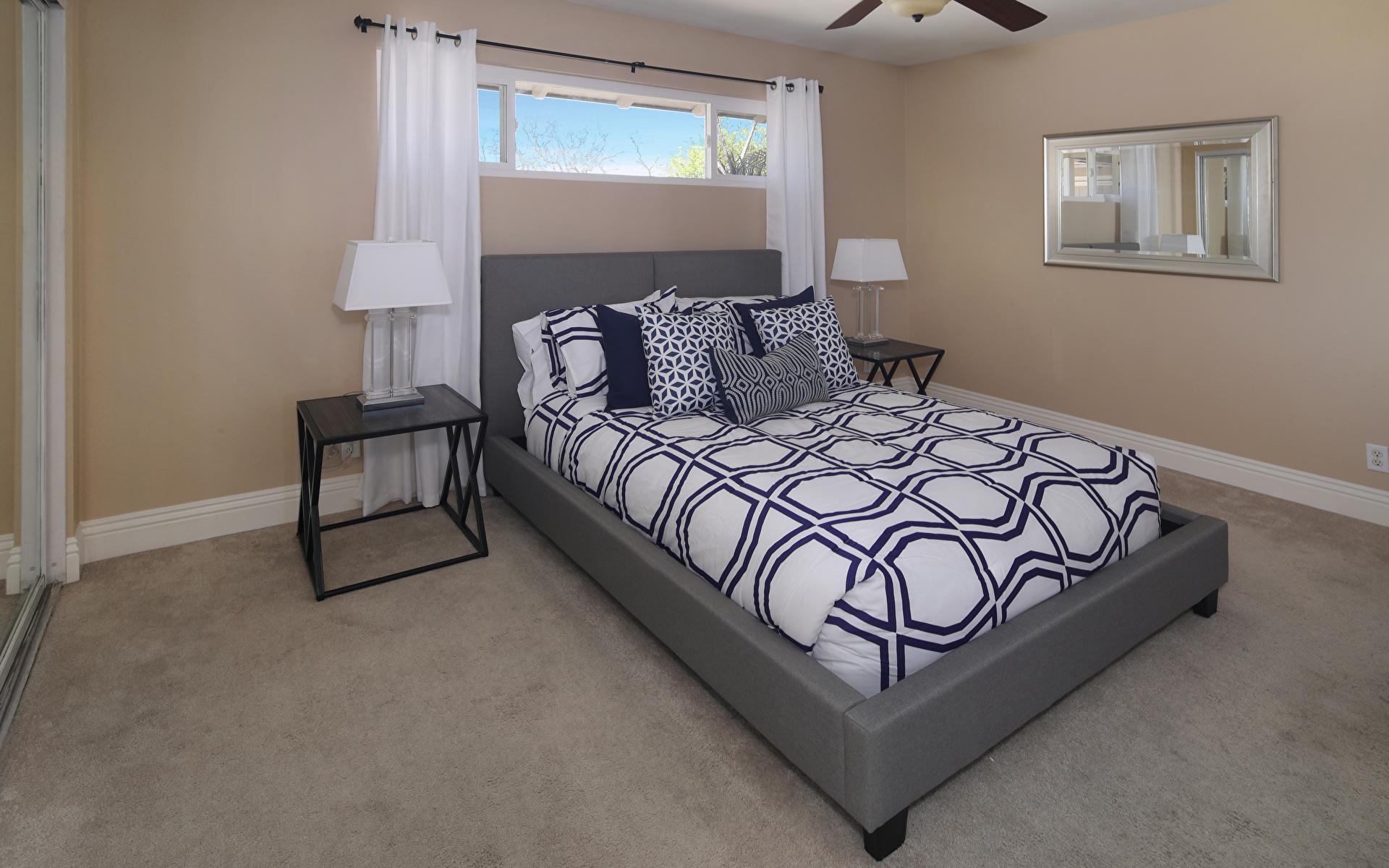 Картинка Спальня Интерьер Кровать Подушки Дизайн 1920x1200