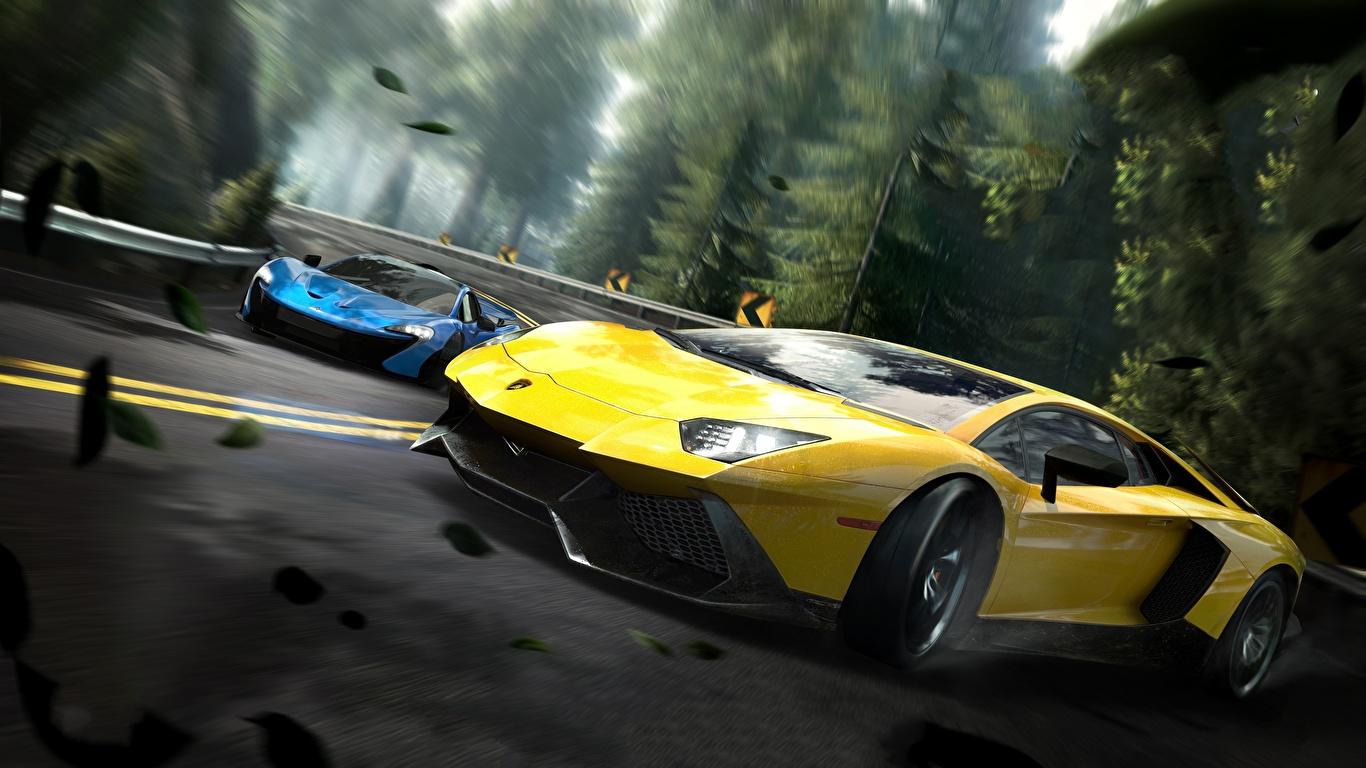 Картинка Need for Speed Lamborghini Edge Aventador 3д Желтый Игры Автомобили 1366x768 Ламборгини желтых желтые желтая 3D Графика компьютерная игра авто машина машины автомобиль