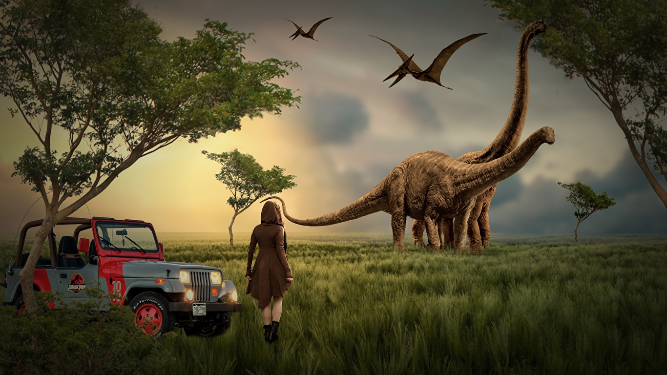 Картинки Jeep Динозавры девушка Фантастика Трава 1366x768 Джип динозавр Фэнтези Девушки молодая женщина молодые женщины траве