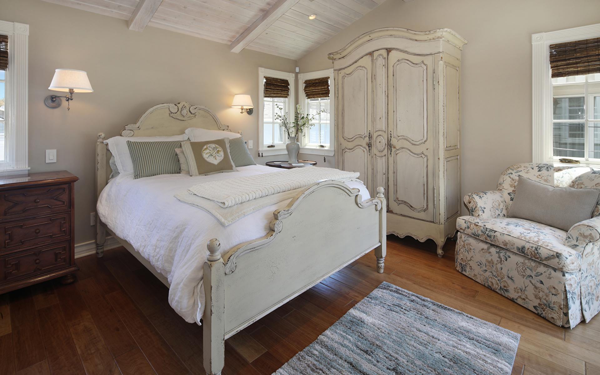 Фотография Спальня Интерьер Лампа Кресло Кровать Дизайн 1920x1200