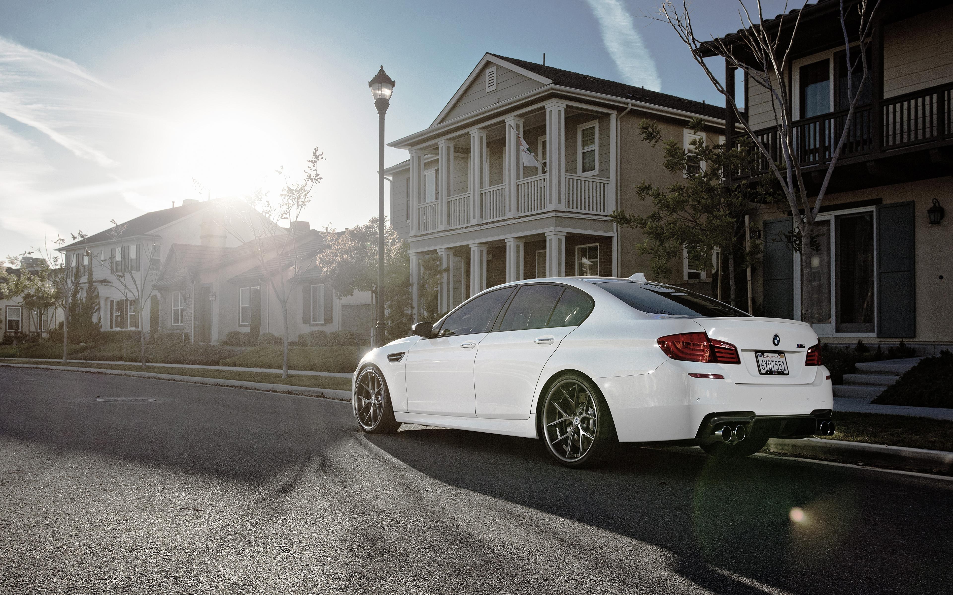 Фото БМВ m5, f10 белая асфальта Автомобили Здания Города 3840x2400 BMW Белый белые белых авто машины машина Асфальт автомобиль Дома город
