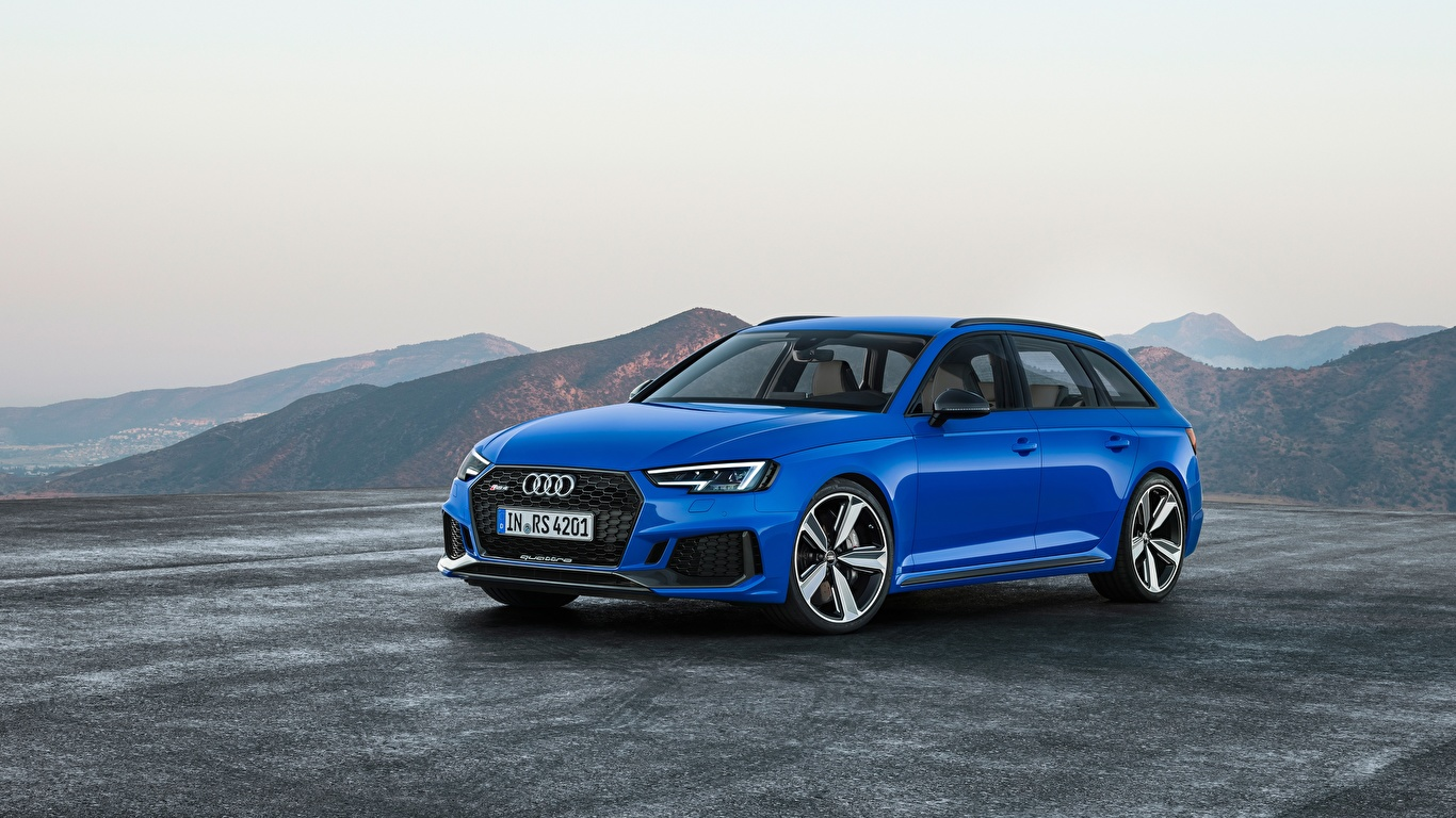 Обои для рабочего стола Ауди Универсал RS4, Avant, 2017 Синий авто Асфальт 1366x768 Audi синяя синие синих машины машина асфальта Автомобили автомобиль