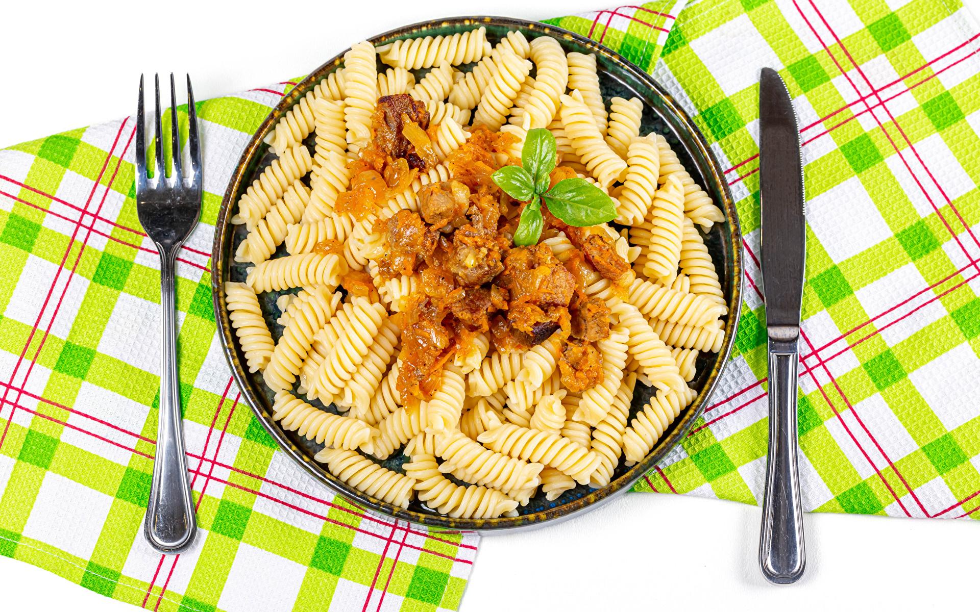 Картинки Нож Макароны Вилка столовая Продукты питания Вторые блюда 1920x1200 ножик Еда Пища вилки