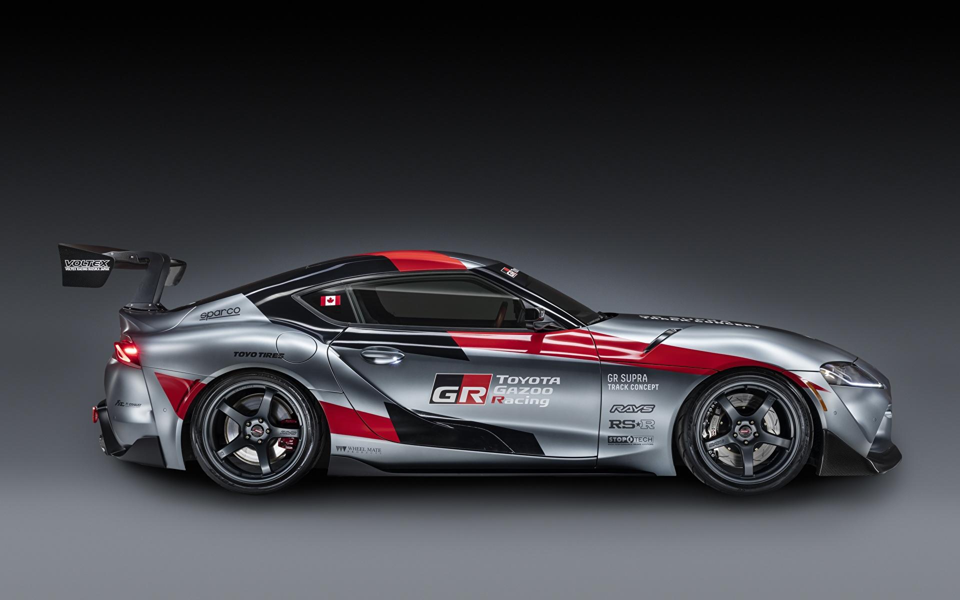 Обои для рабочего стола Тойота GR Supra Track Concept, 2020 Купе Серый авто Сбоку 1920x1200 Toyota серая серые машина машины Автомобили автомобиль