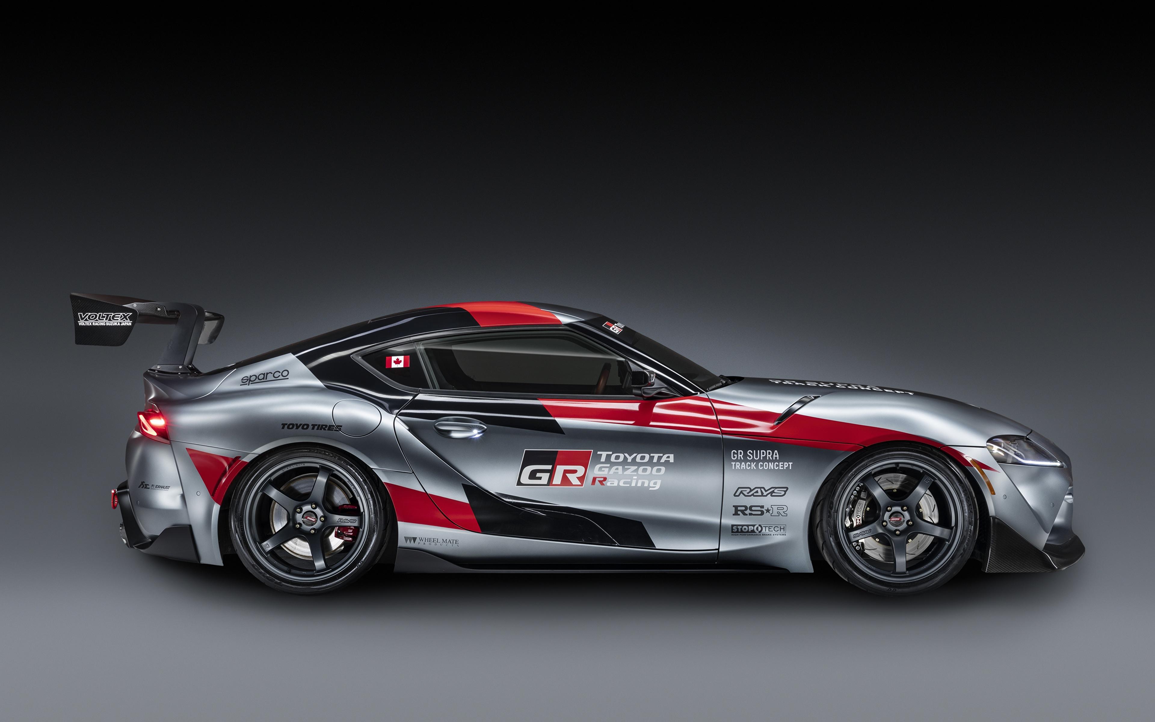 Обои для рабочего стола Тойота GR Supra Track Concept, 2020 Купе Серый авто Сбоку 3840x2400 Toyota серая серые машина машины Автомобили автомобиль