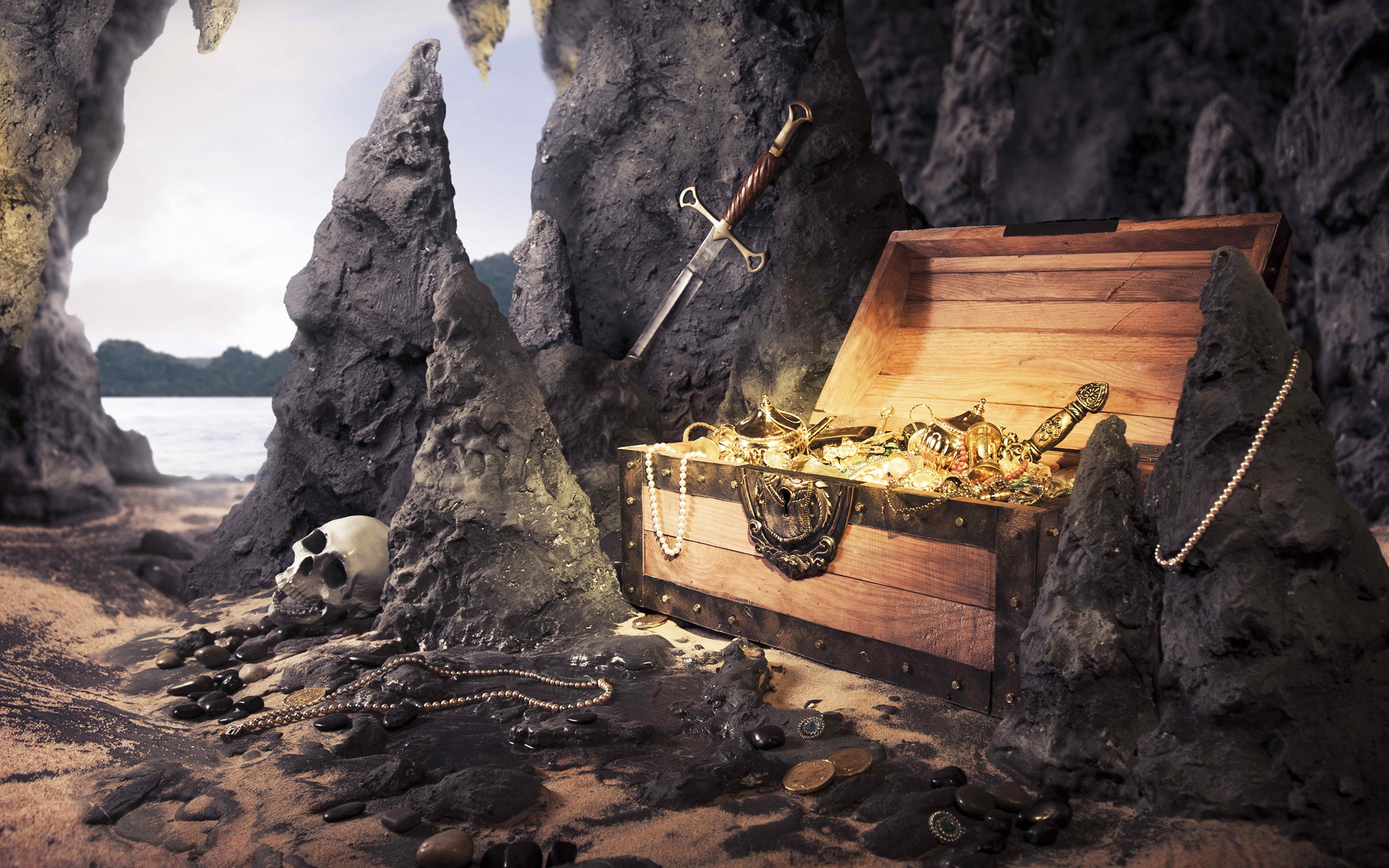 Картинки сундук с сокровищами фантастика 3840x2400.