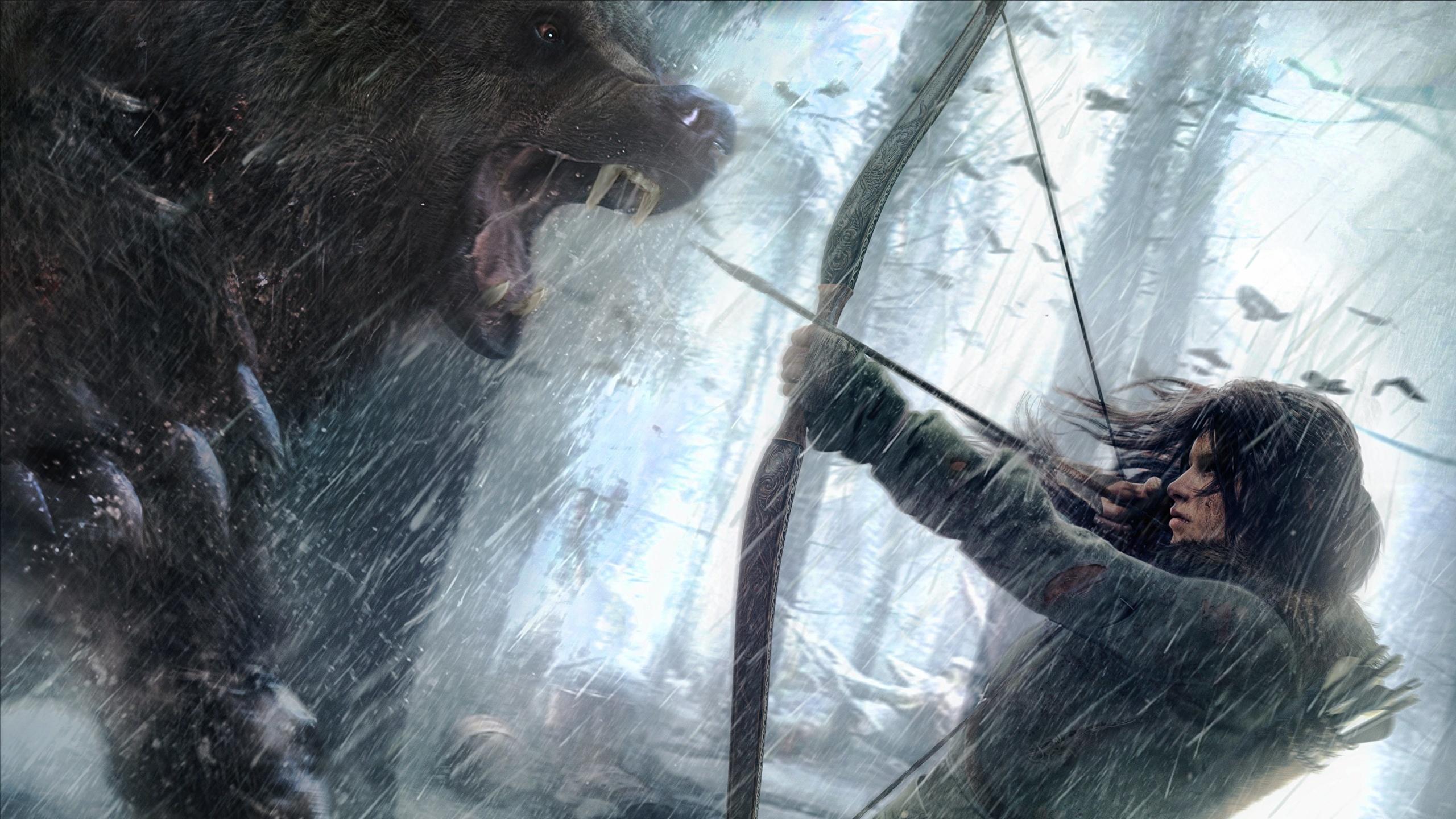 Обои lara croft, tomb raider, Медведь. Игры foto 9