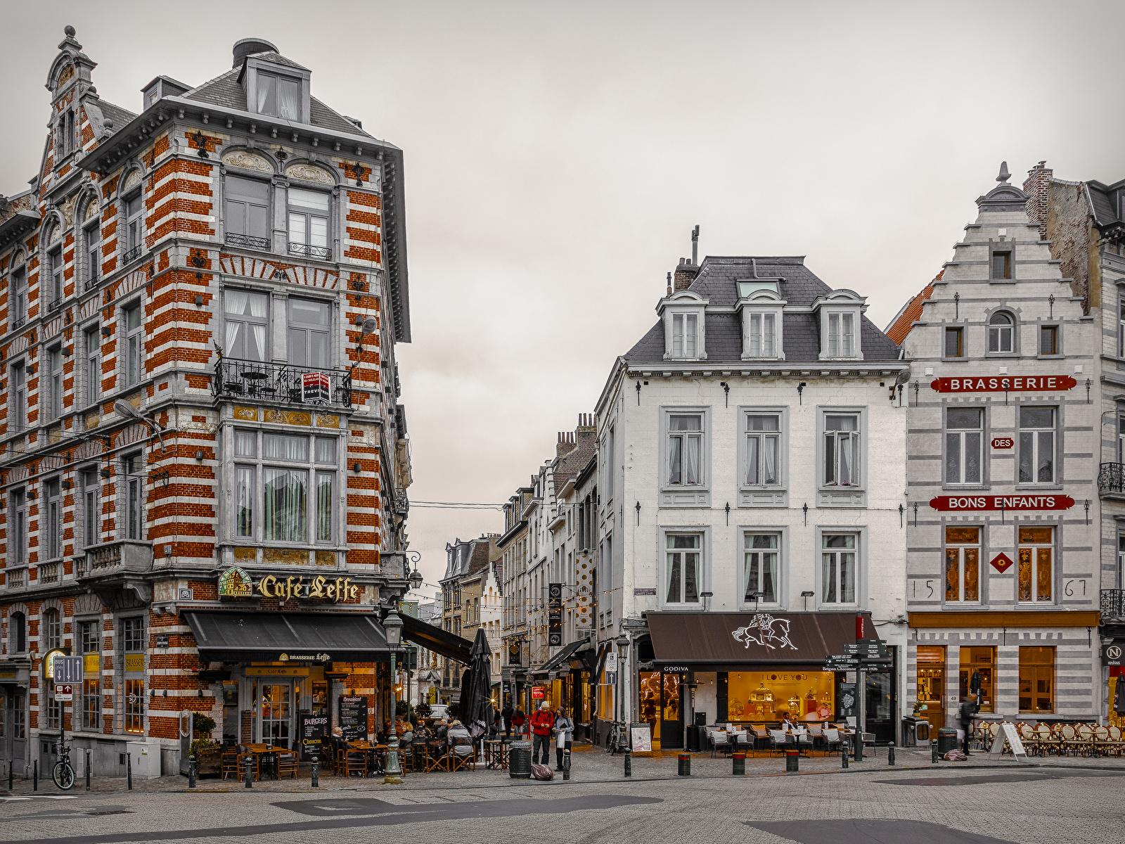 Обои Бельгия Brussels Кафе Улица Города Здания 1600x1200 улиц улице Дома город