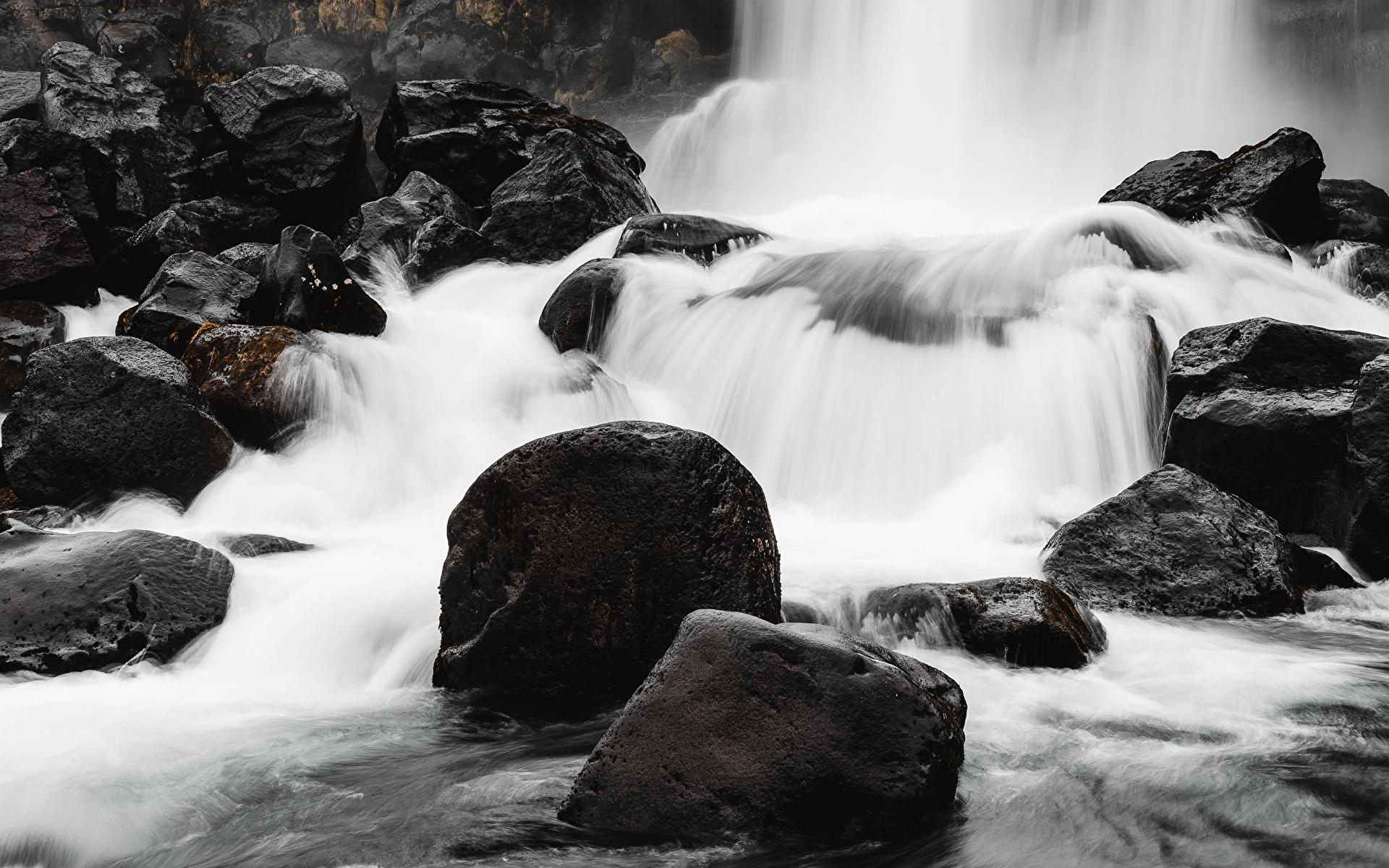 Фотография Природа Водопады Камни речка 1920x1200 река Реки Камень