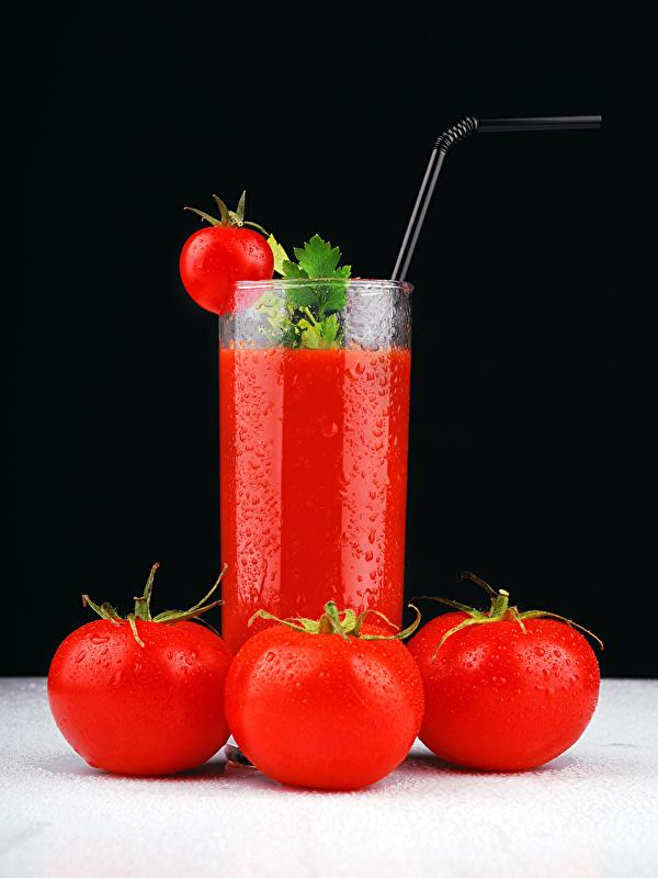 Фото Сок Томаты стакана Еда 600x800 для мобильного телефона Помидоры Стакан стакане Пища Продукты питания